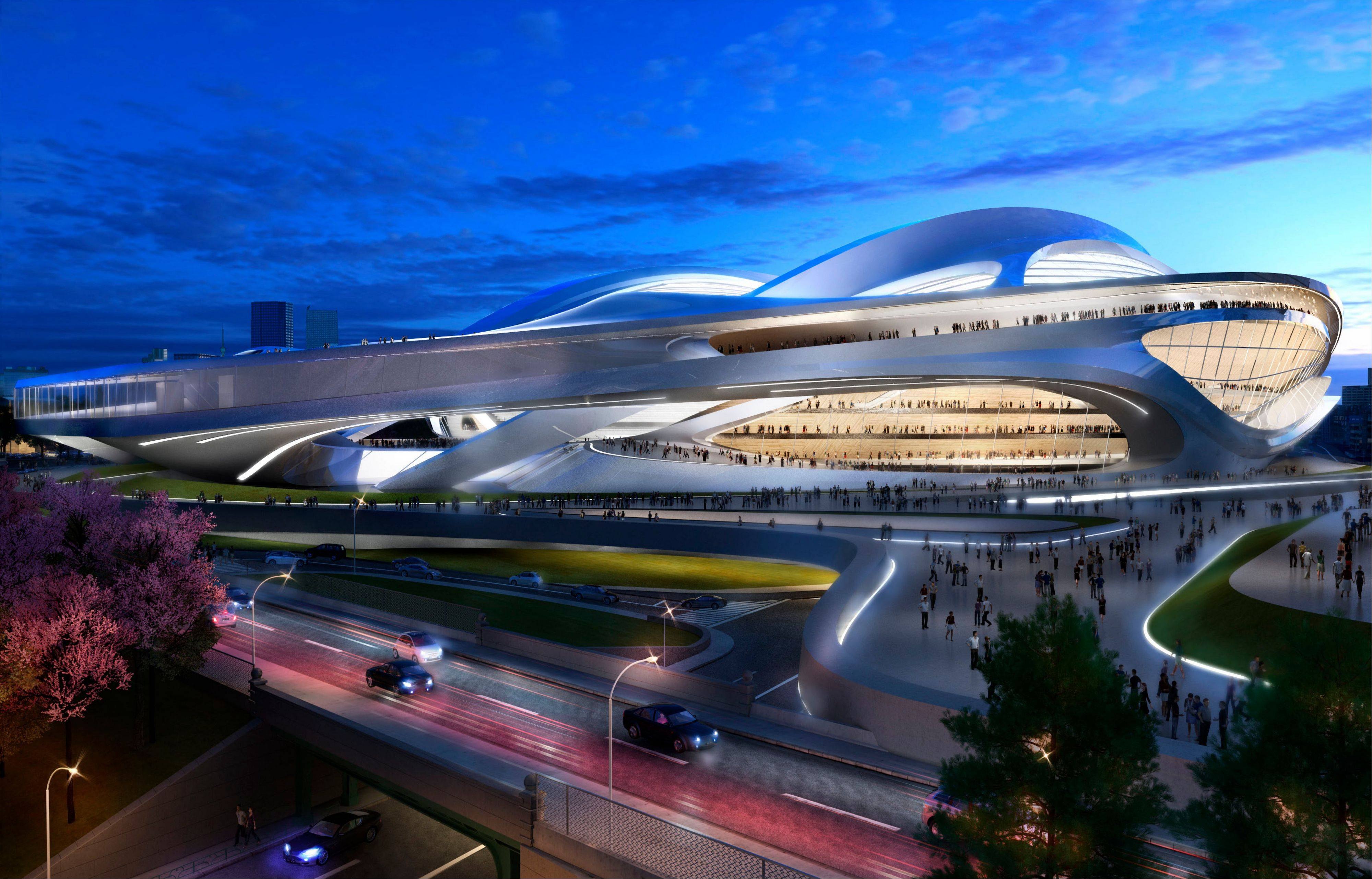 An artist rendering of the new National Stadium, the main venue Tokyo plans to build for the 2020 Tokyo Olympics. A prominent Japanese architect is campaigning to reduce the size of the spaceshiplike main stadium approved for the Olympics, saying it's too expensive and would clash with its surroundings.