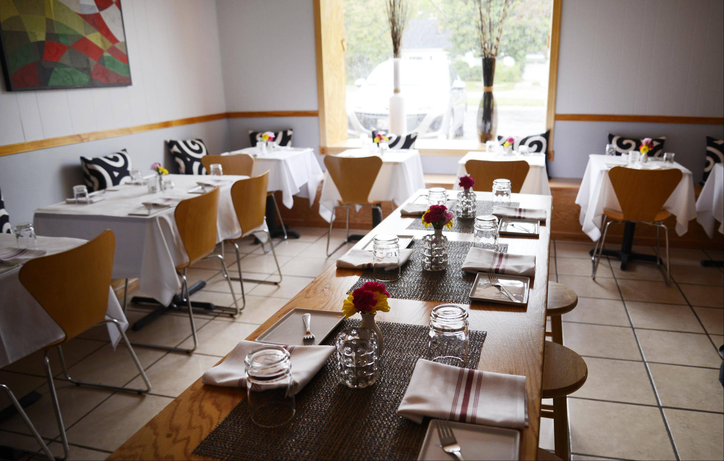 The main dining room at Altiro features a communal table.