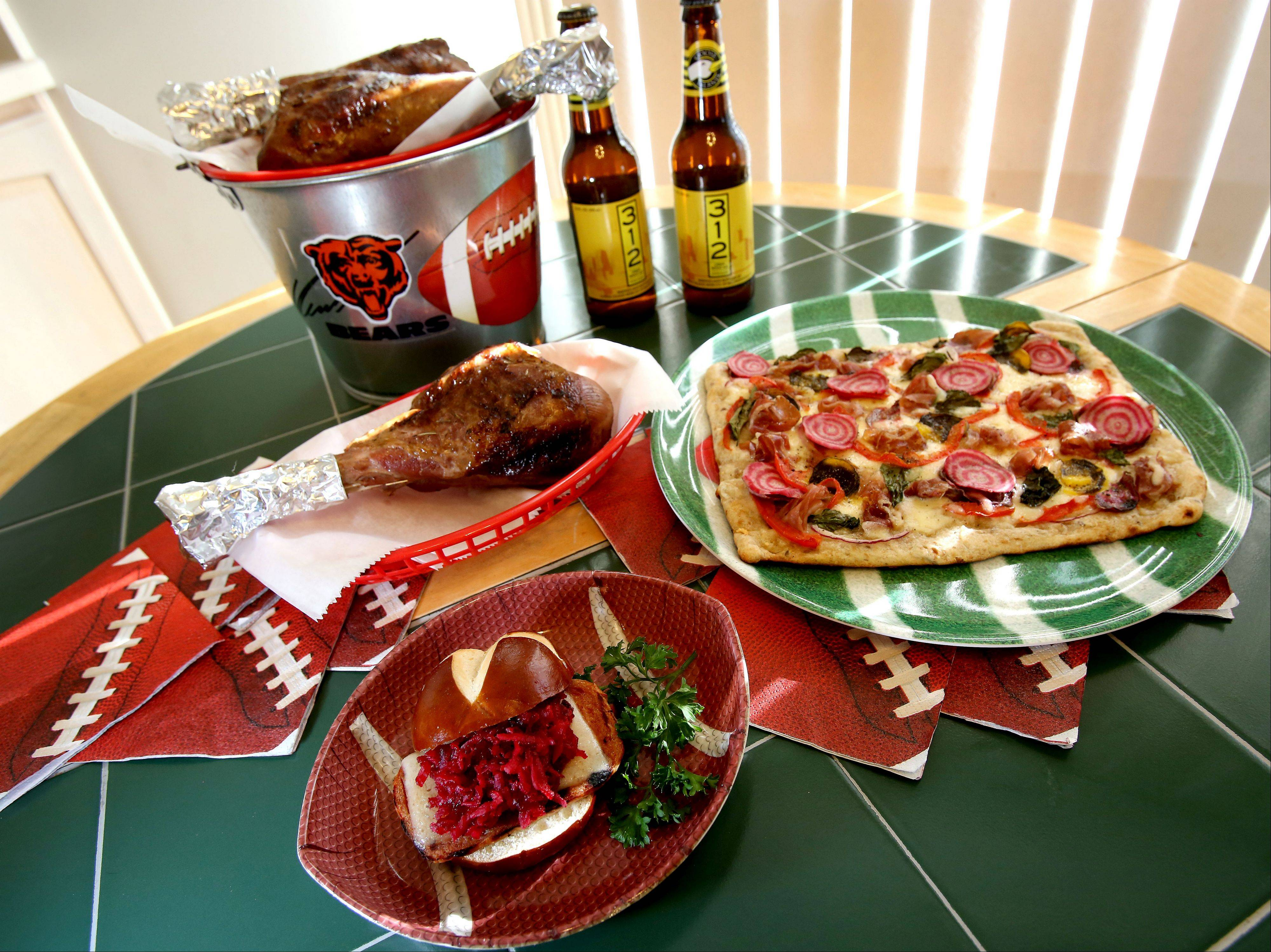 Grilled Game Day Pizza, Grilled Spam & Havarti Sliders with Baby Beets and Apple Orange Marmalade Slaw and Apple Cider-Brined Turkey Legs by Lori Wiktorek of Aurora for the Cook of the Week Challenge.