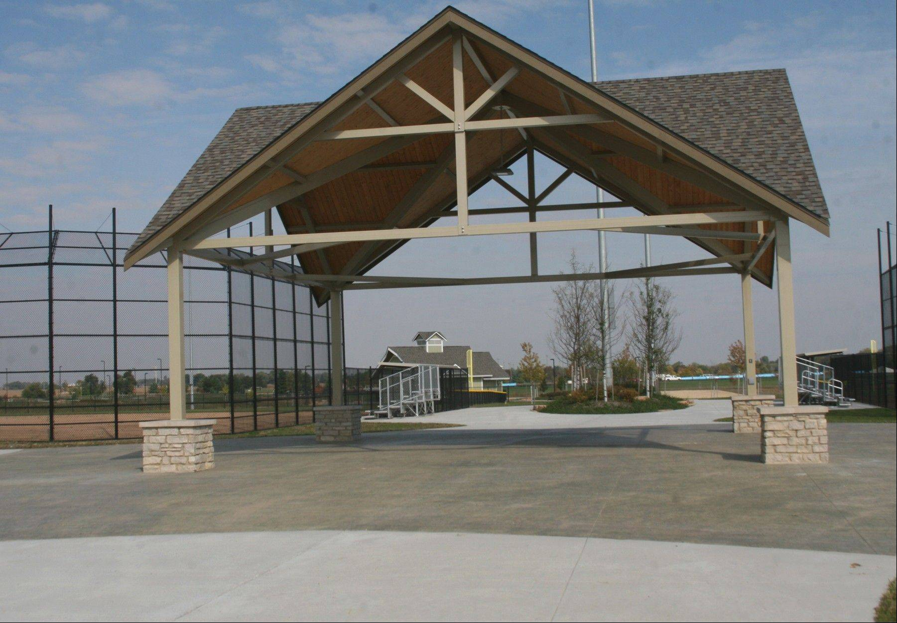 Four new ball fields radiate from a stylish shelter that serves as the hub for a 135-acre expansion -- which also includes 11 additional soccer fields -- at Stuart Sports Complex in Montgomery. Estimates are for a mid-2014 opening.