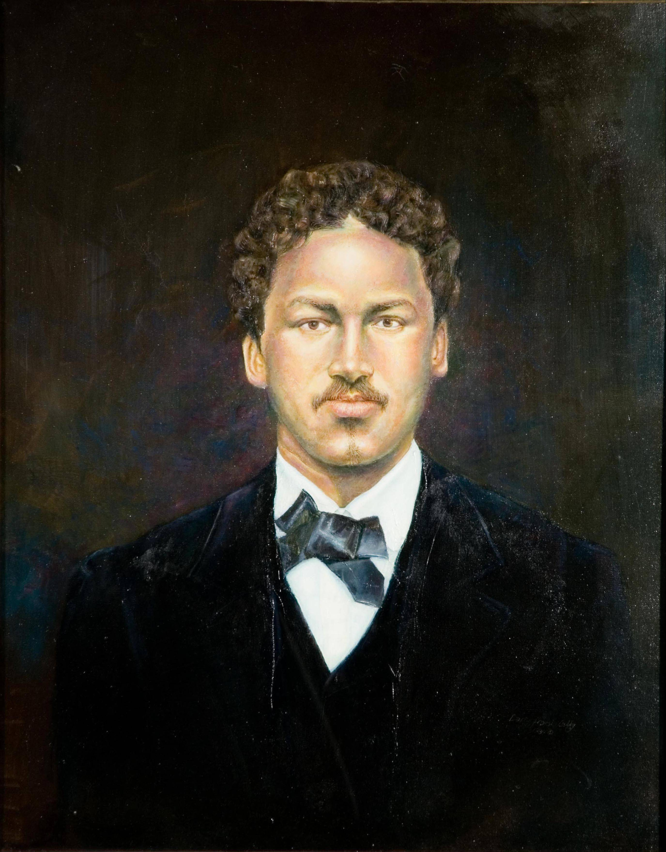 A portrait of Richard Greener painted by Larry Lebby in 1984.