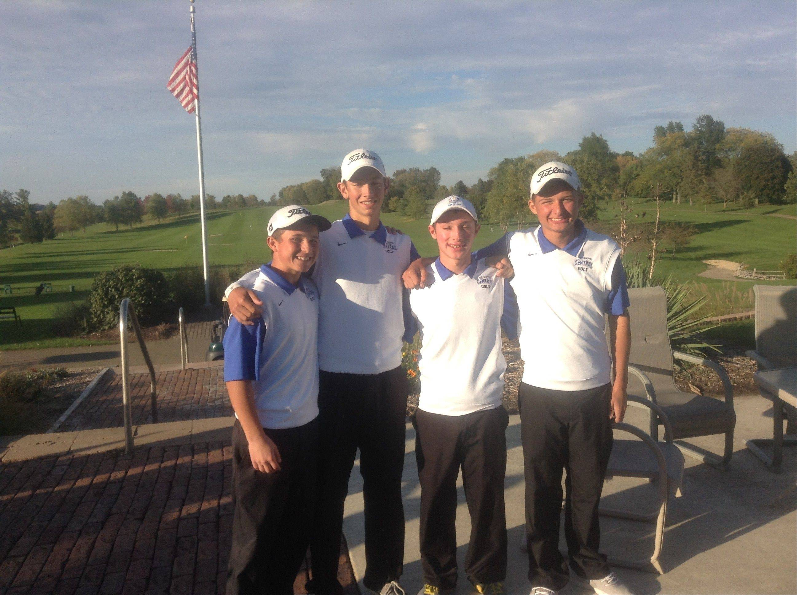 The four top players for the Burlington Central boys golf team Monday at the Class 2A Freeport sectional were Andrew Sherman, from left, Matt Weber, Joe Sherman and Austin Niesel. The Rockets advanced to this weekend's state tournament for just the second time in program history.