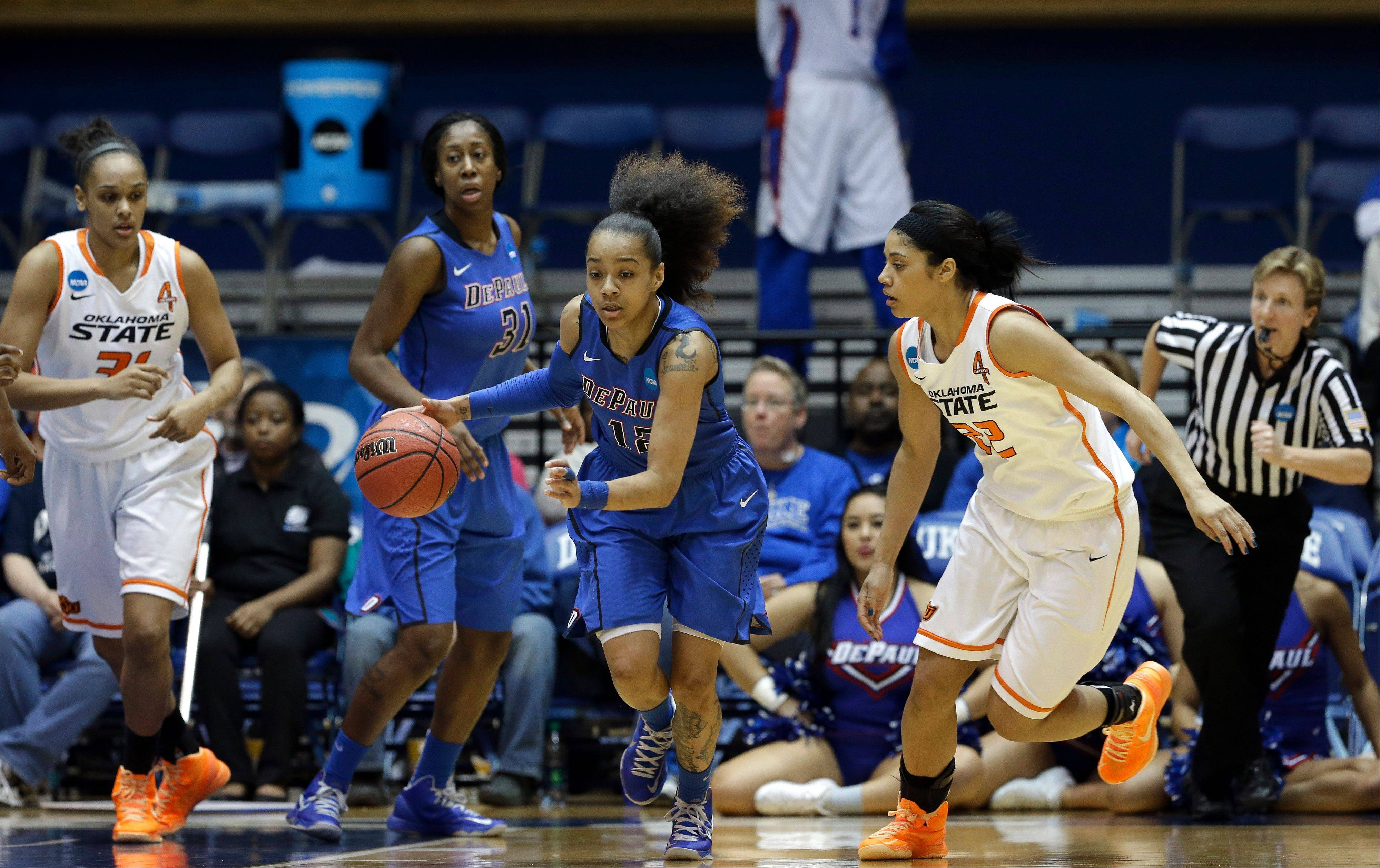 DePaul guard Brittany Hrynko, shown here leading the break against Oklahoma State in NCAA tournament action last March, heads a deep roster for DePaul, which is favored to win the Big East title this season.