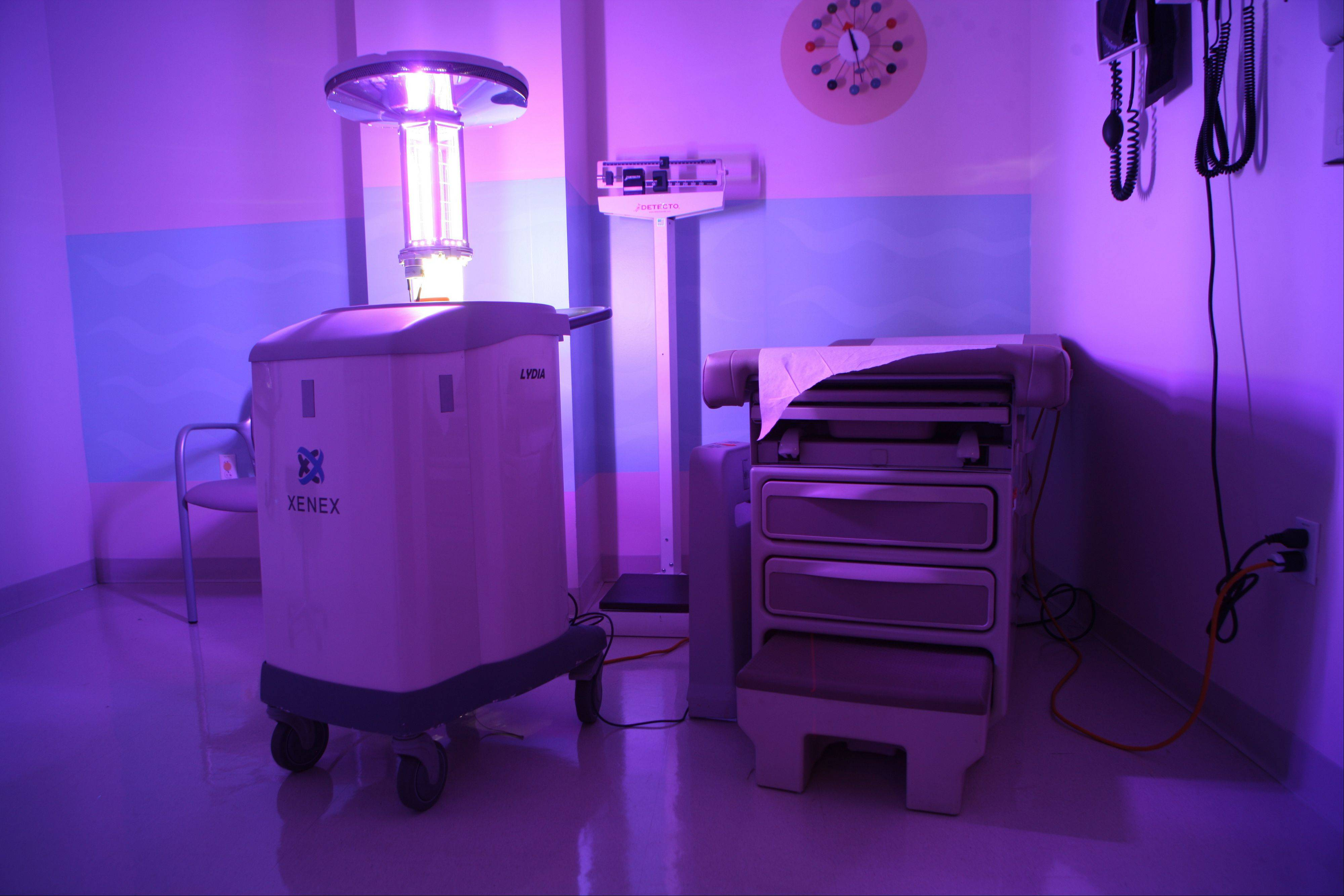This Xenex robot is cleaning a patient room in Stamford Hospital in Stamford, Conn.
