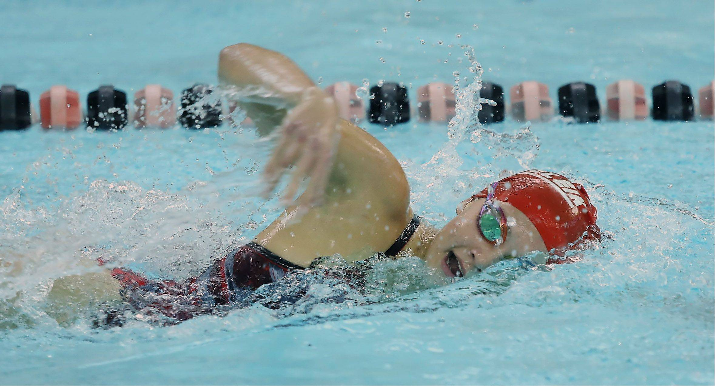 Mundelein's Rachel Robb wins the 200-yard freestyle Thursday at Libertyville.