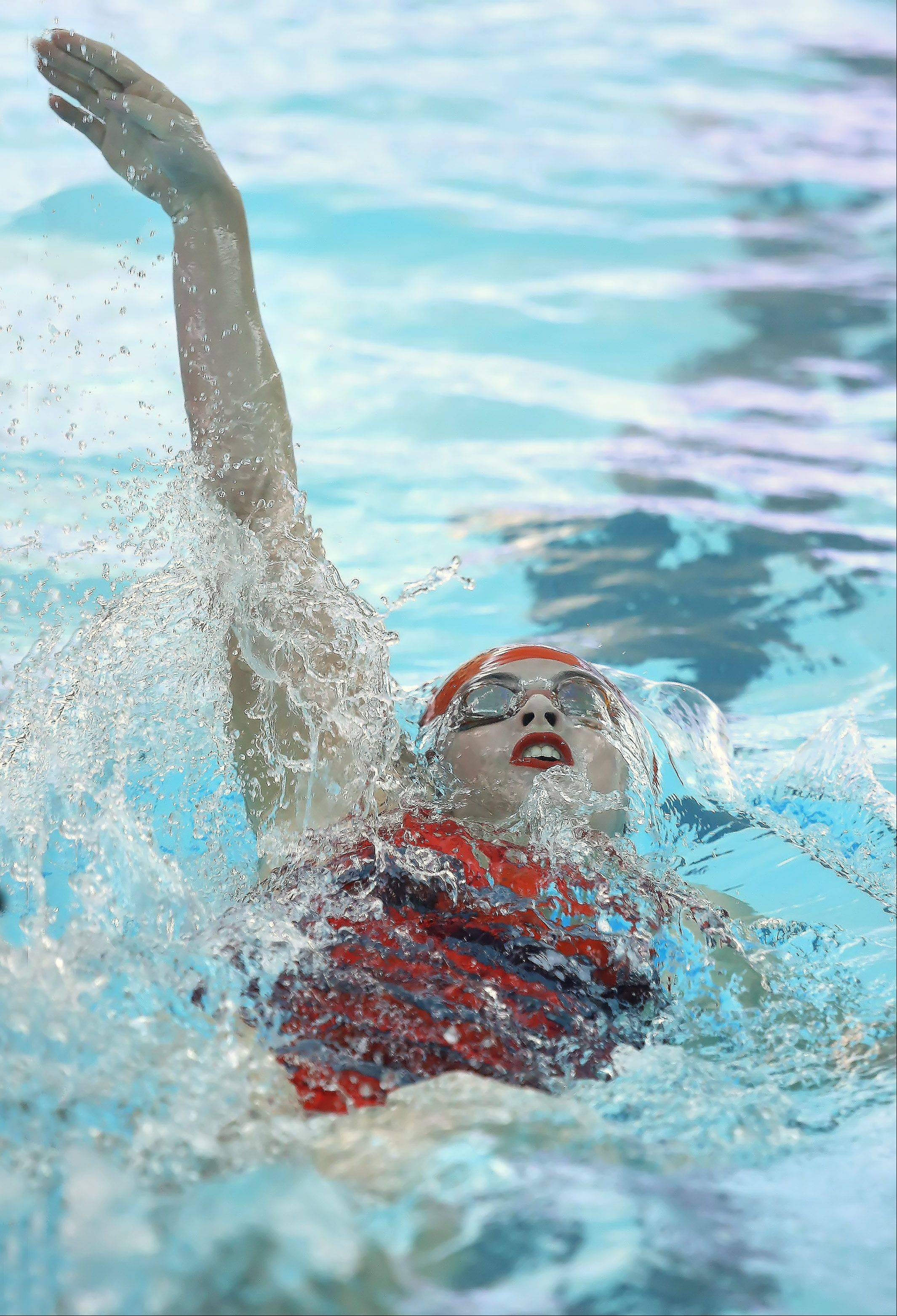 Mundelein's Jenn Kordik wins the 200-yard individual medley during Thursday's meet at Libertyville.