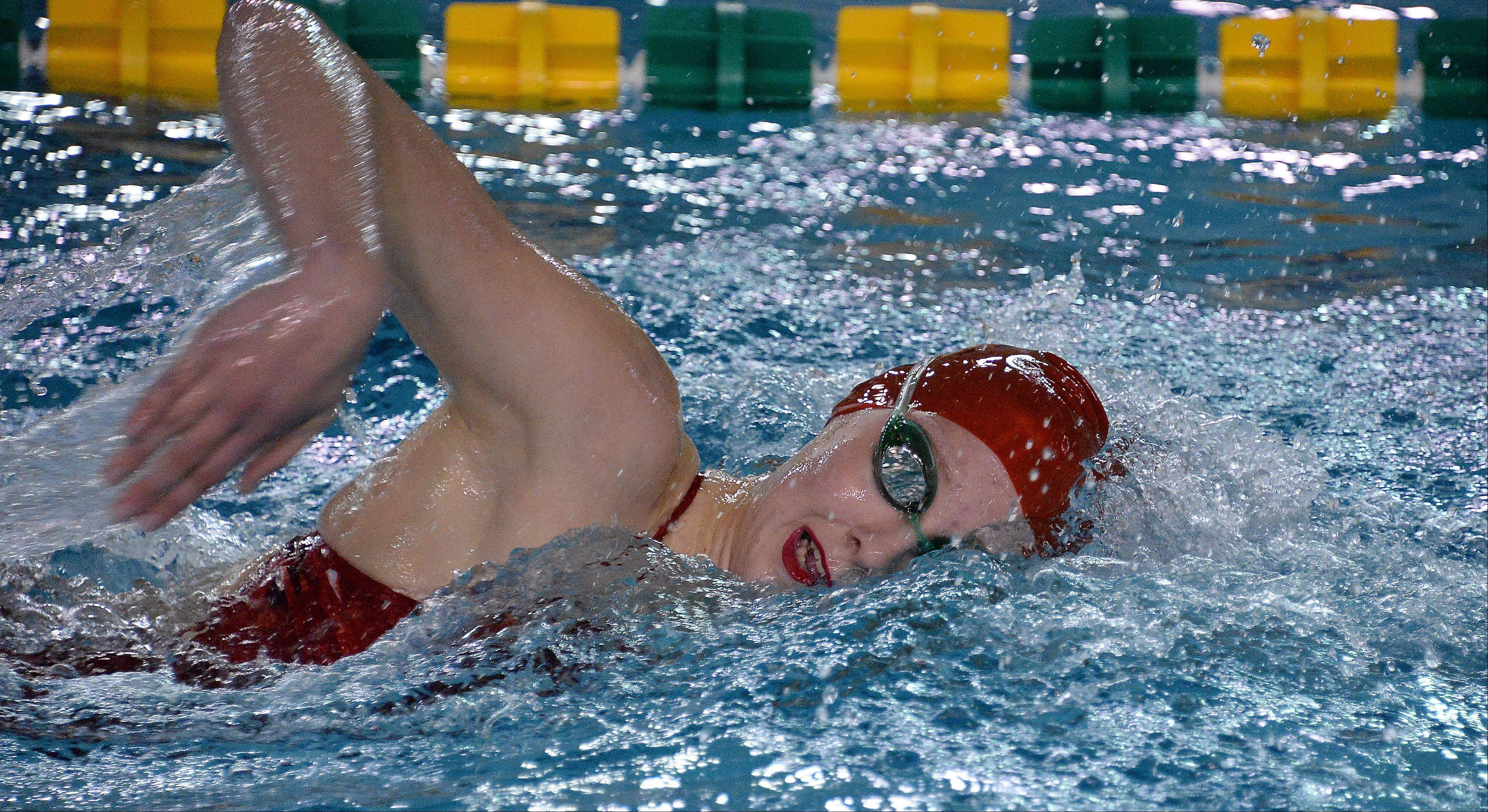 Barrington's Kirsten Jacobsen heads for a win in the 400-meter freestyle at Fremd on Thursday.