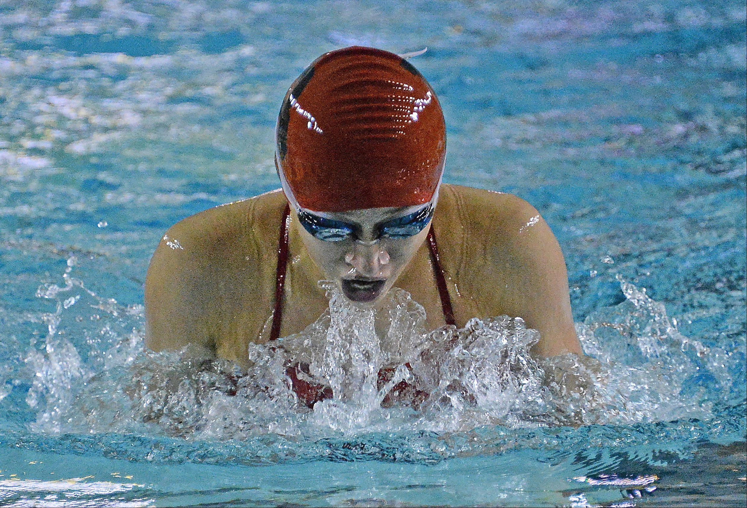 Barrington's Andrea Vega surges to a win in the 100-meter breaststroke at Fremd on Thursday.