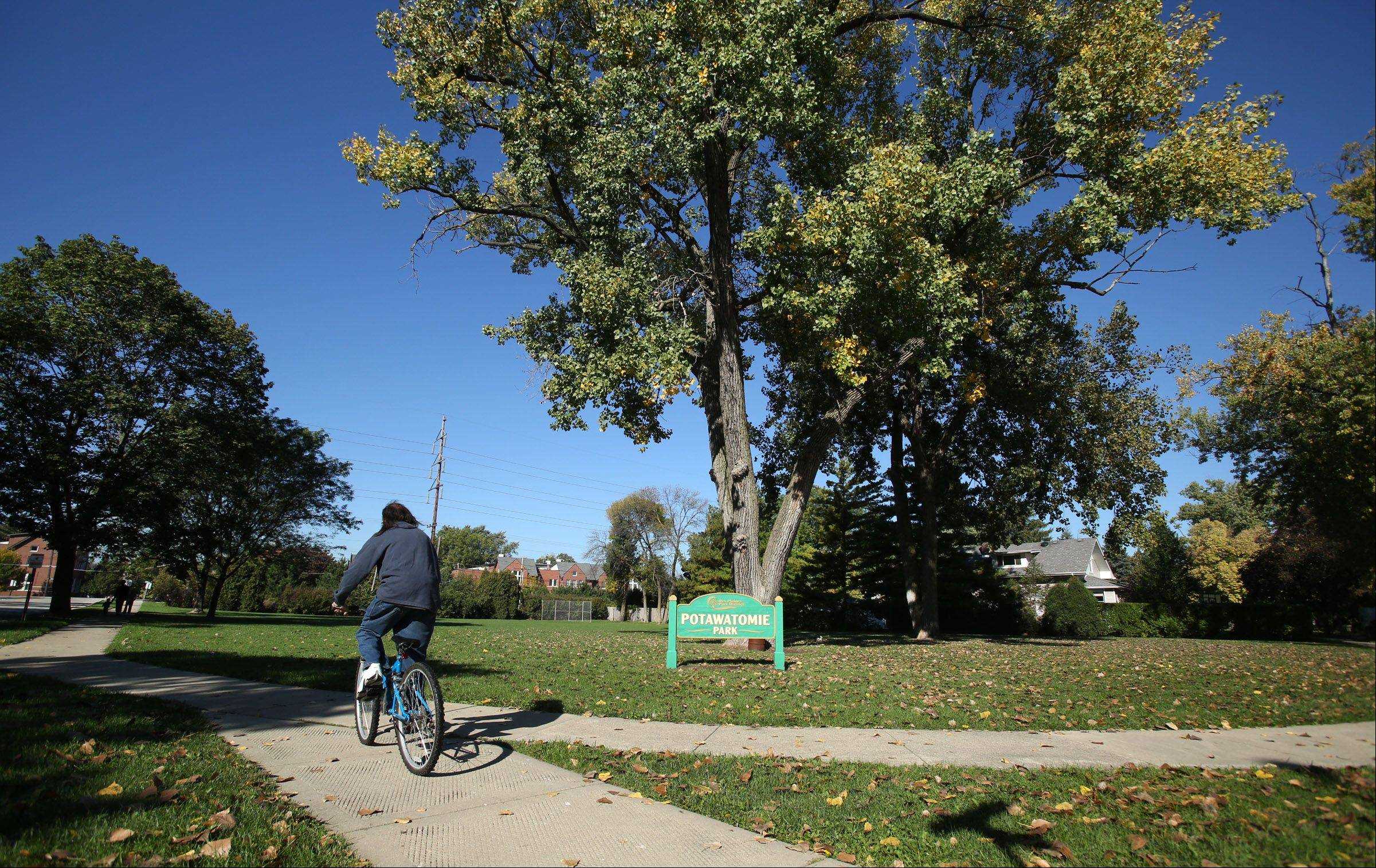 Residents who live in the Silk Stocking neighborhood in Des Plaines enjoy the open space provided by Potawatomi Park.