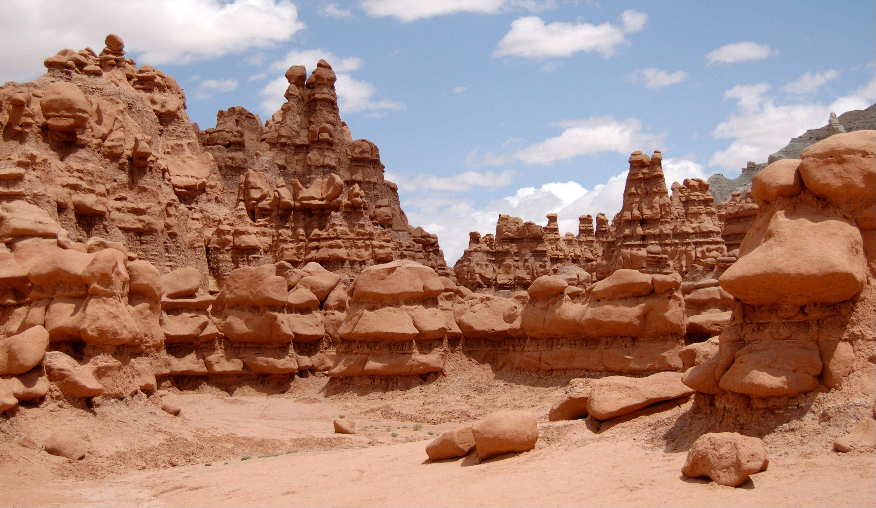 Authorities say three men could face felony charges after purposely knocking over an ancient Utah desert rock formation and posting a video of the incident online. The park is dotted with thousands of the eerie, mushroom shaped sandstone formations.