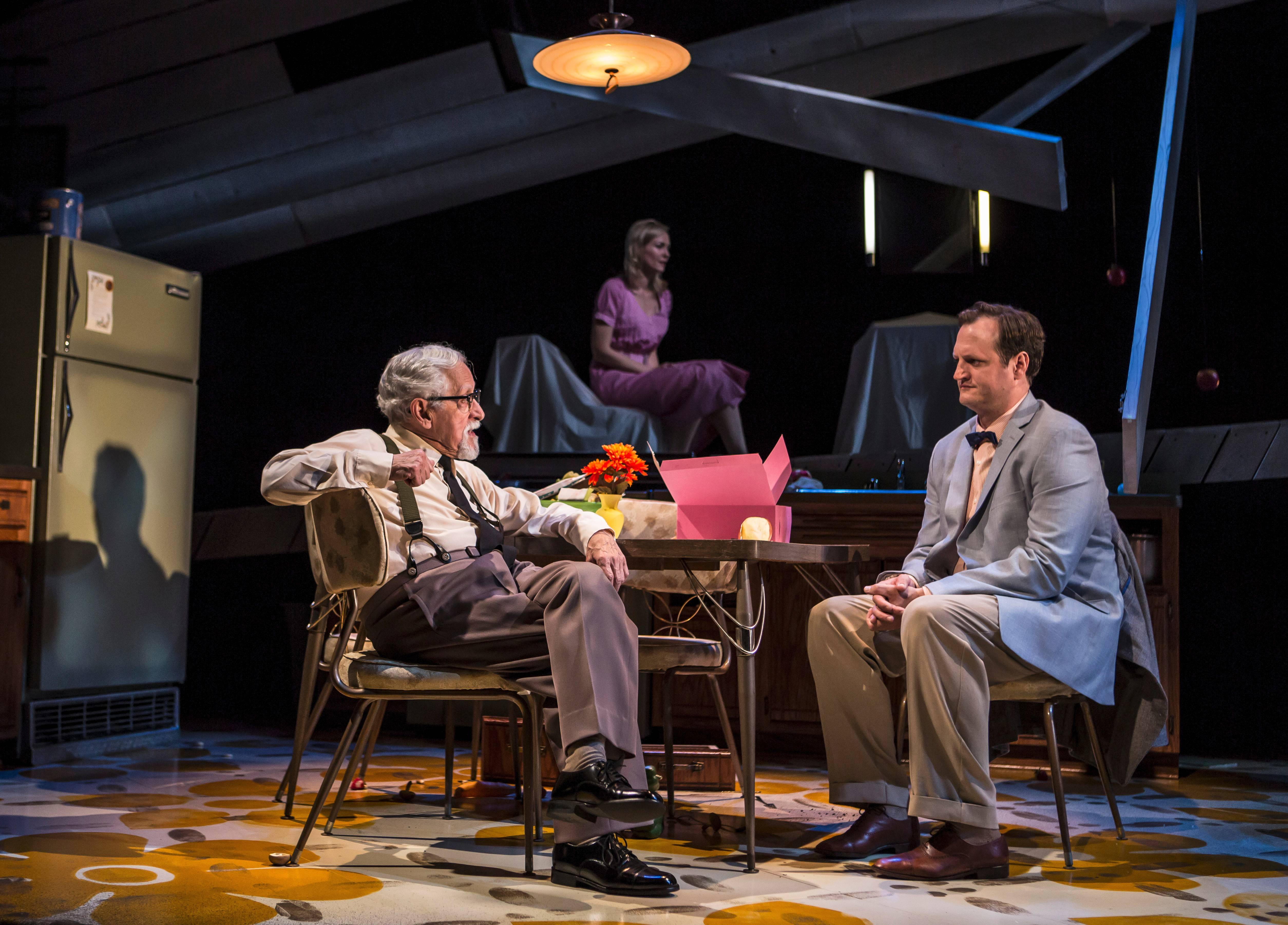 "During a flashback depicting Dan and Violet's first date, Mike Nussbaum's protective father, left, quizzes Eric Slater's Dan while Violet (Katherine Keberlein), background, waits in Goodman Theatre's production of ""Smokefall"" directed by Anne Kauffman."