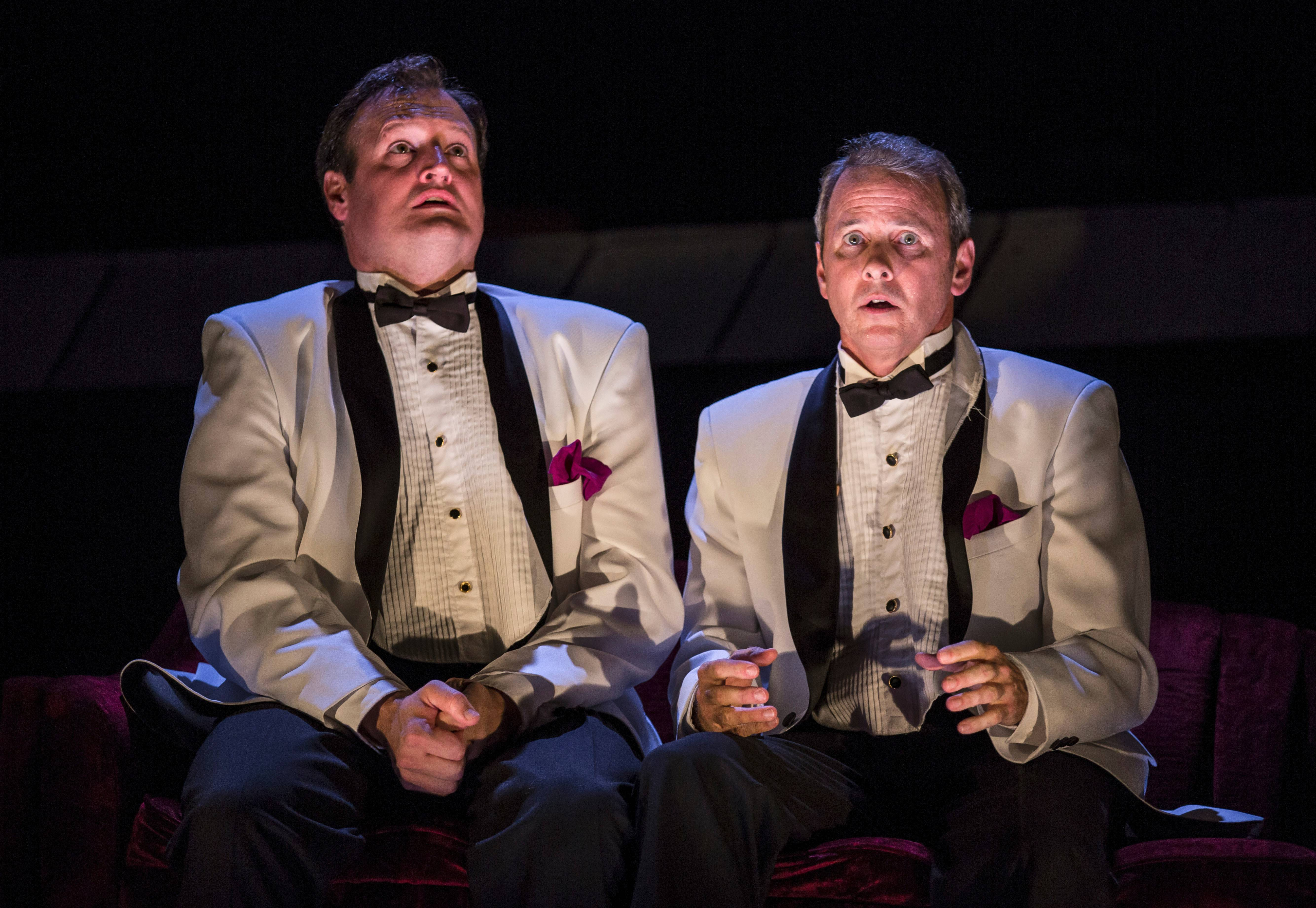 "Twins in utero played by Eric Slater, left, and Guy Massey, croon show tunes and contemplate their futures in ""Smokefall,"" a world premiere by Noah Haidle running through Nov. 3 at Goodman Theatre."