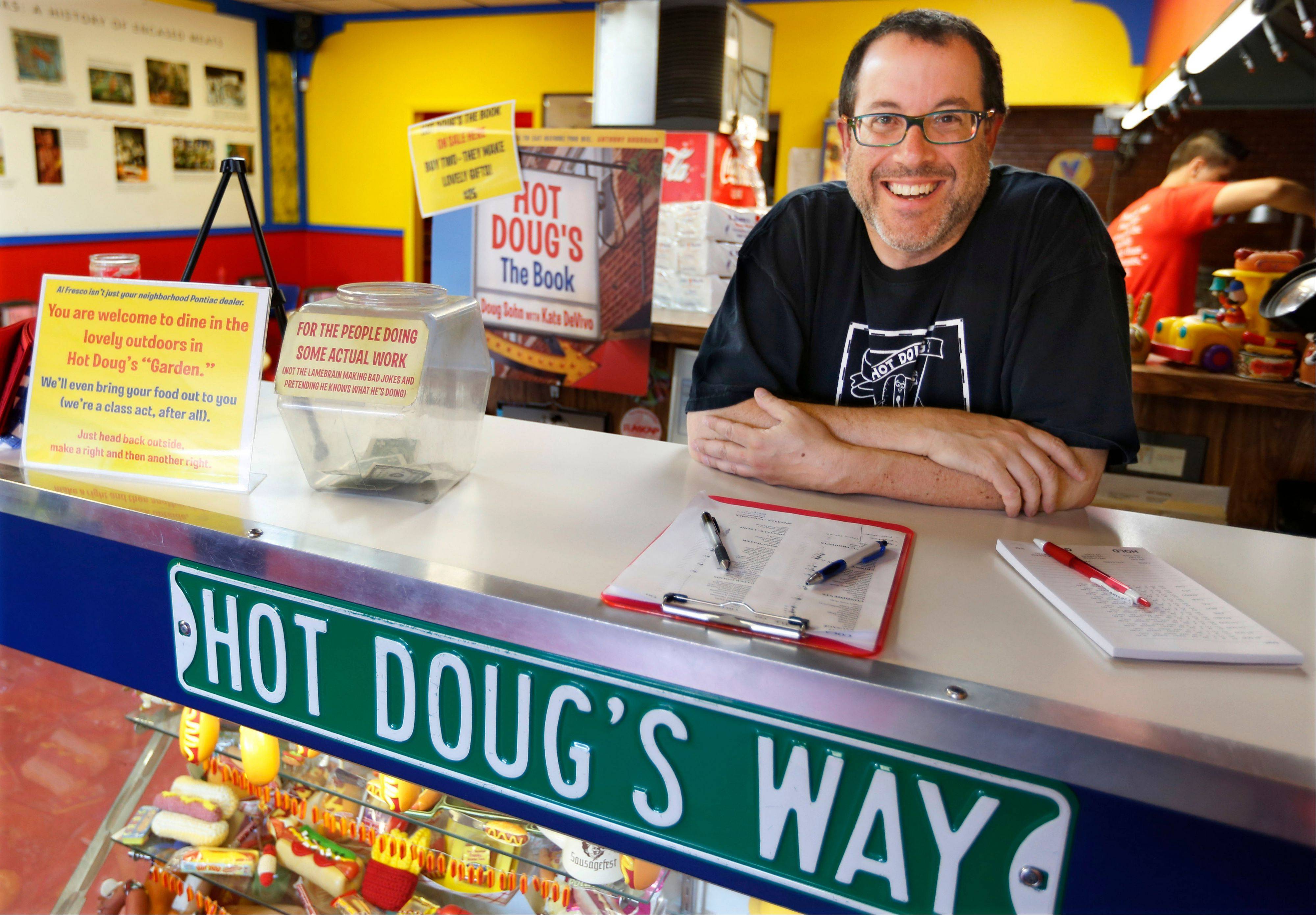 Doug Sohn, owner of Hot Doug's restaurant on the northwest side of Chicago, offers a rotating stockpile of about 100 recipes that he's created, and he gets his meats from a dozen different sausage makers.