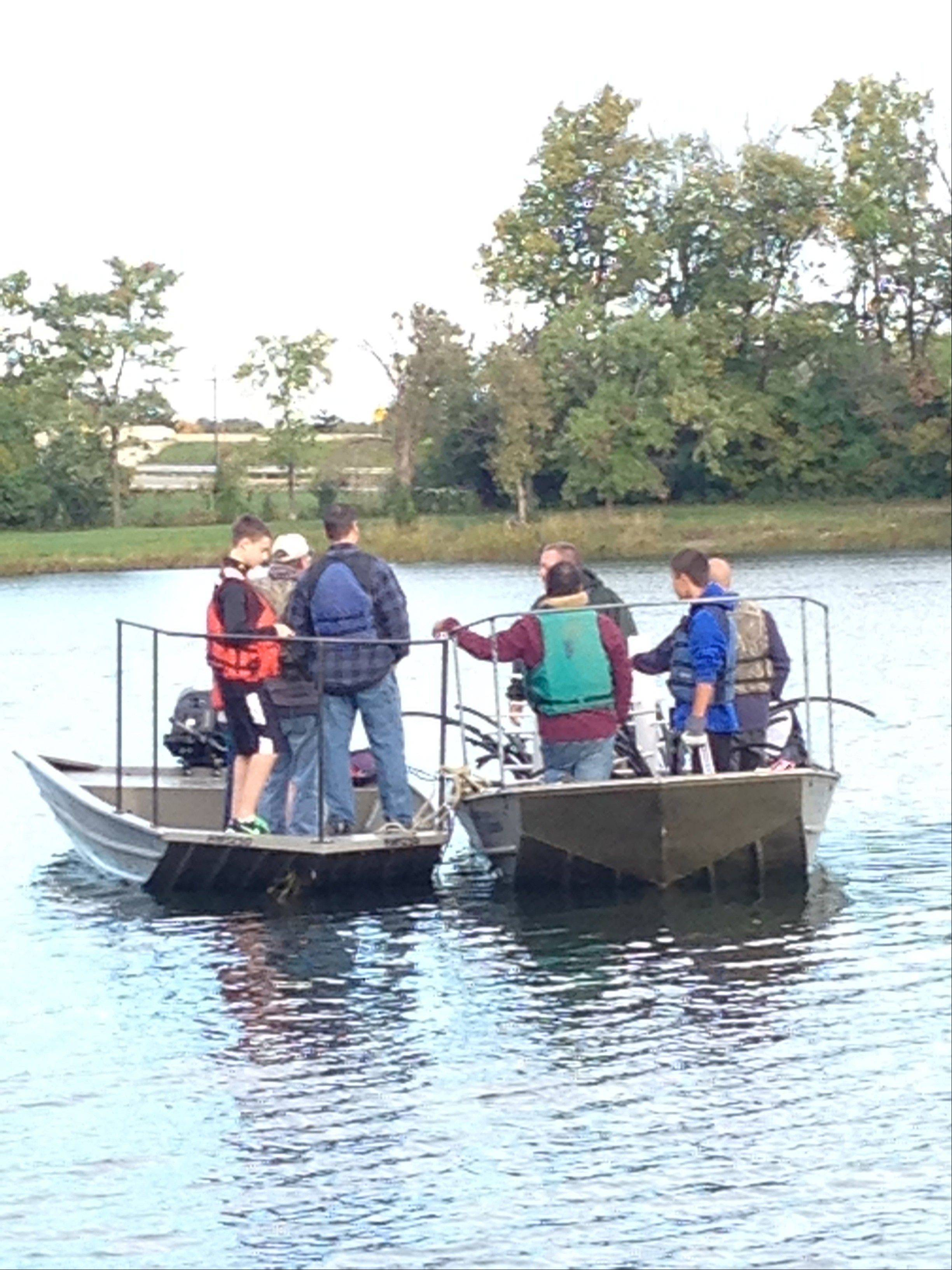 Eagle Scout candidate Cameron Sato and fellow Scouts installed 18 fish cribs in Axehead Lake and Belleau Lake in Des Plaines. Cameron, a Mount Prospect resident, already is hearing positive feedback from fishermen.