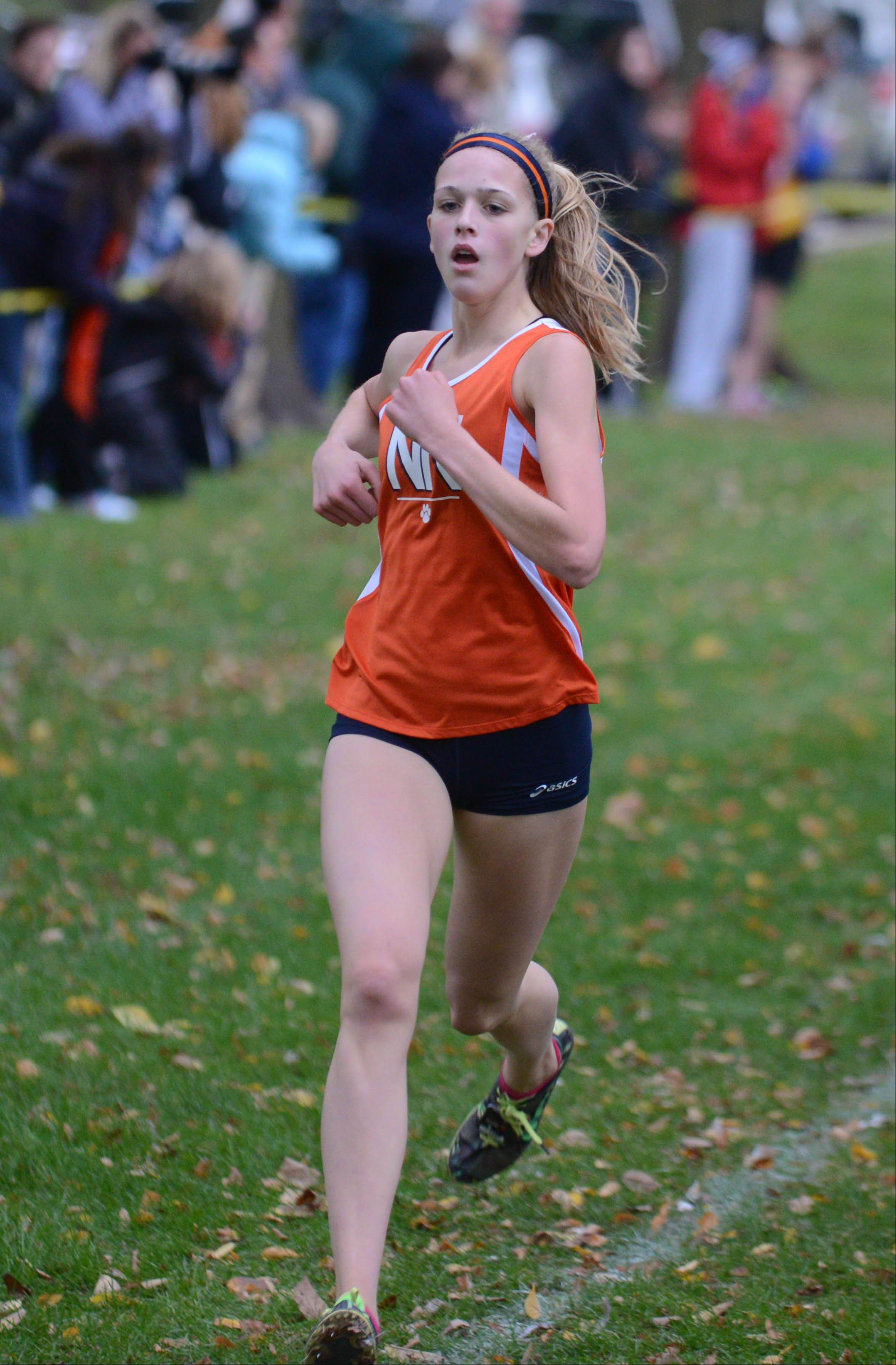 Elen DeTurris of Naperville North wins the DuPage Valley Conference boys and girls cross country meet in Lombard Friday.