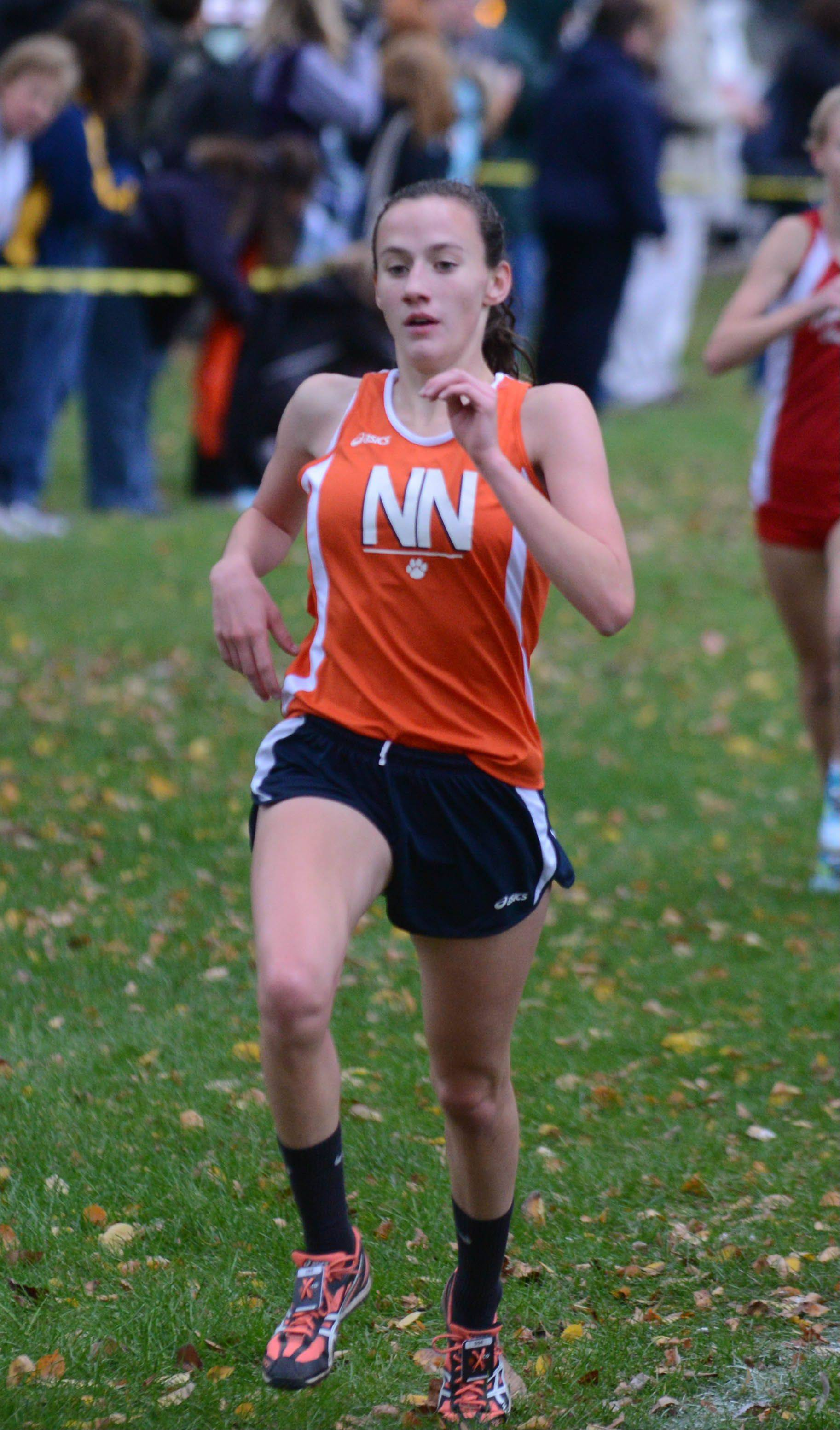 Katherine Shannon of Naperville North gets second at the DuPage Valley Conference boys and girls cross country meet in Lombard Friday.