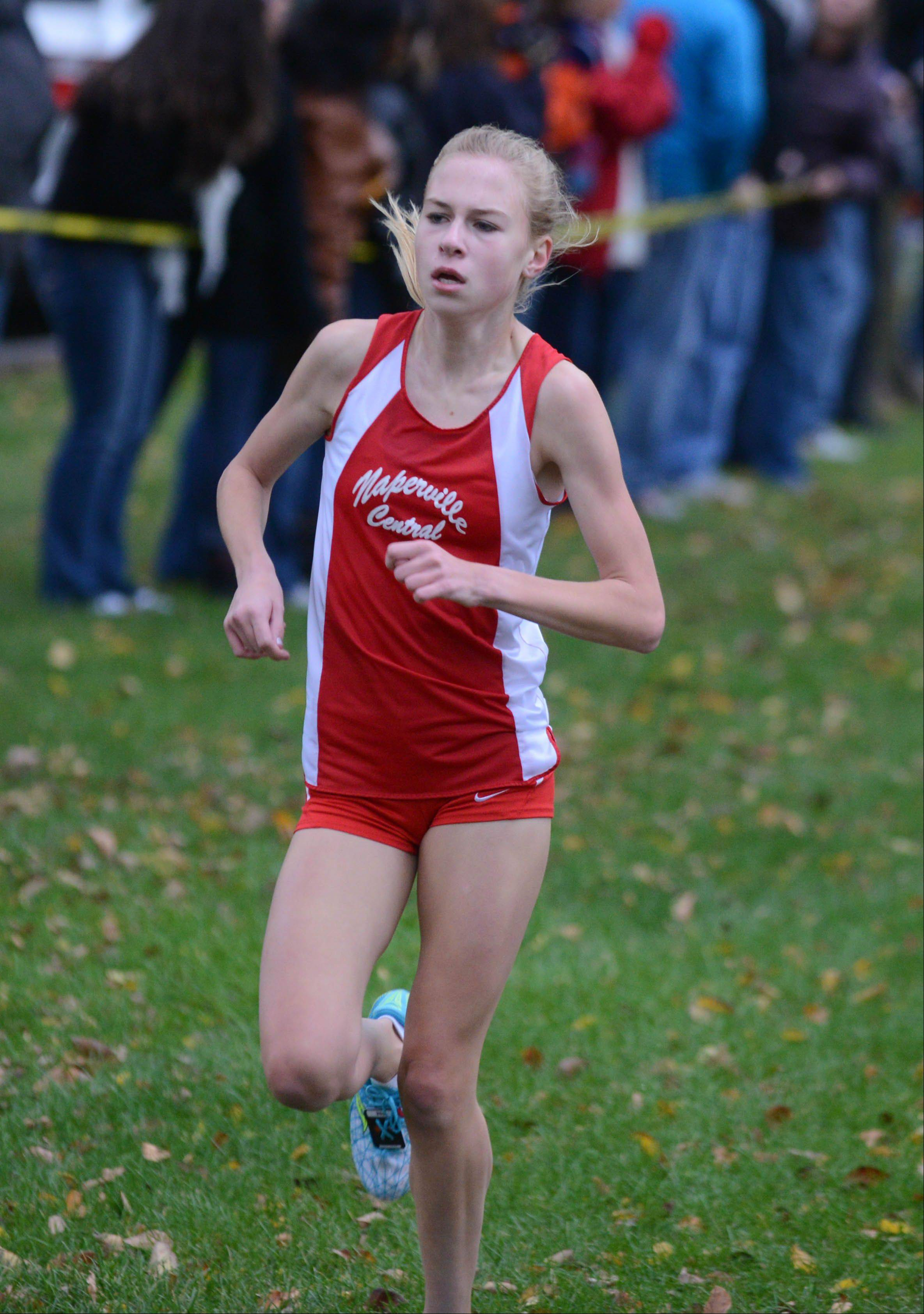Katie Hoffman of Naperville Central finishes third at the DuPage Valley Conference boys and girls cross country meet Friday.