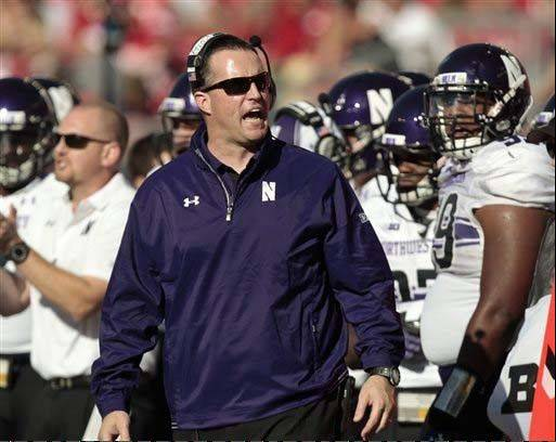Northwestern coach Pat Fitzgerald injected a bit of levity during practice this week. His Wildcats have lost two straight.