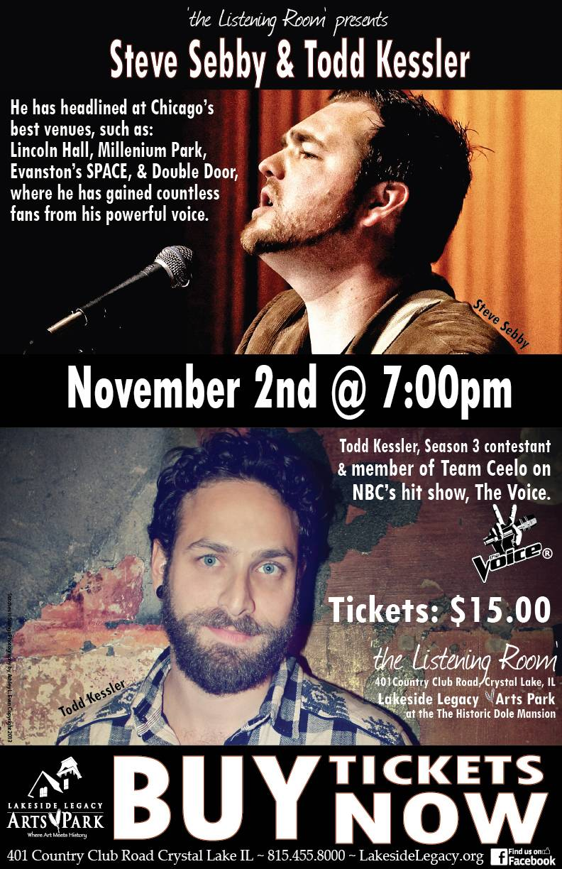 On November 2nd at 7pm, Steve Sebby and Todd Kessler will be performing in 'the Listening Room'.