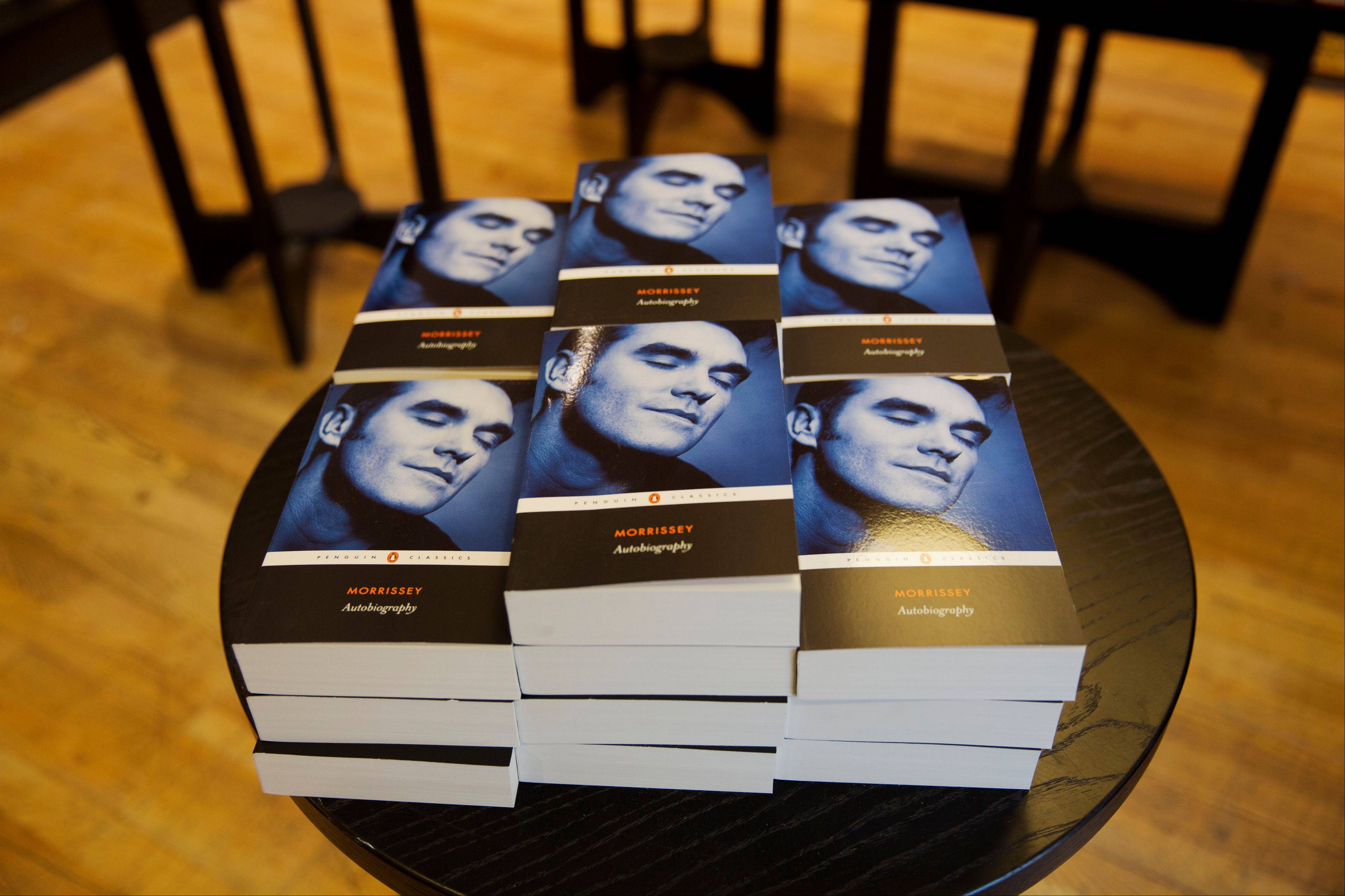 Copies of the Morrissey �Autobiography� lie stacked up on display at a branch of a bookstore in north London. The memoir from the former frontman of The Smiths � titled simply �Autobiography� � is the first rock bio published under the venerable Penguin Classics imprint, home to Aeschylus, Jane Austen and Oscar Wilde. That has horrified some people in the publishing industry, but not the singer�s many fans, who snapped up the book as soon as it was published Thursday.