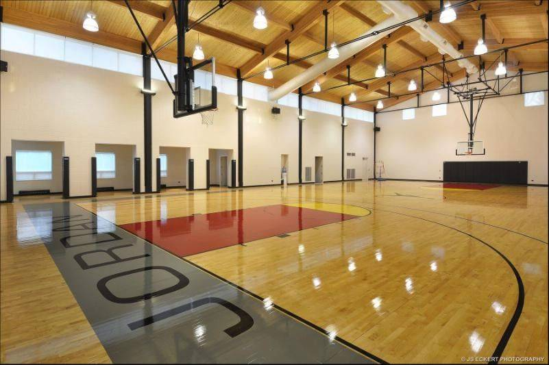A full-size, regulation basketball court was built inside Michael Jordan's Highland Park mansion in 2001 to his exacting specifications. It features specially cushioned hardwood flooring, adjustable backstops and baskets, and competition-quality, high-intensity lighting.