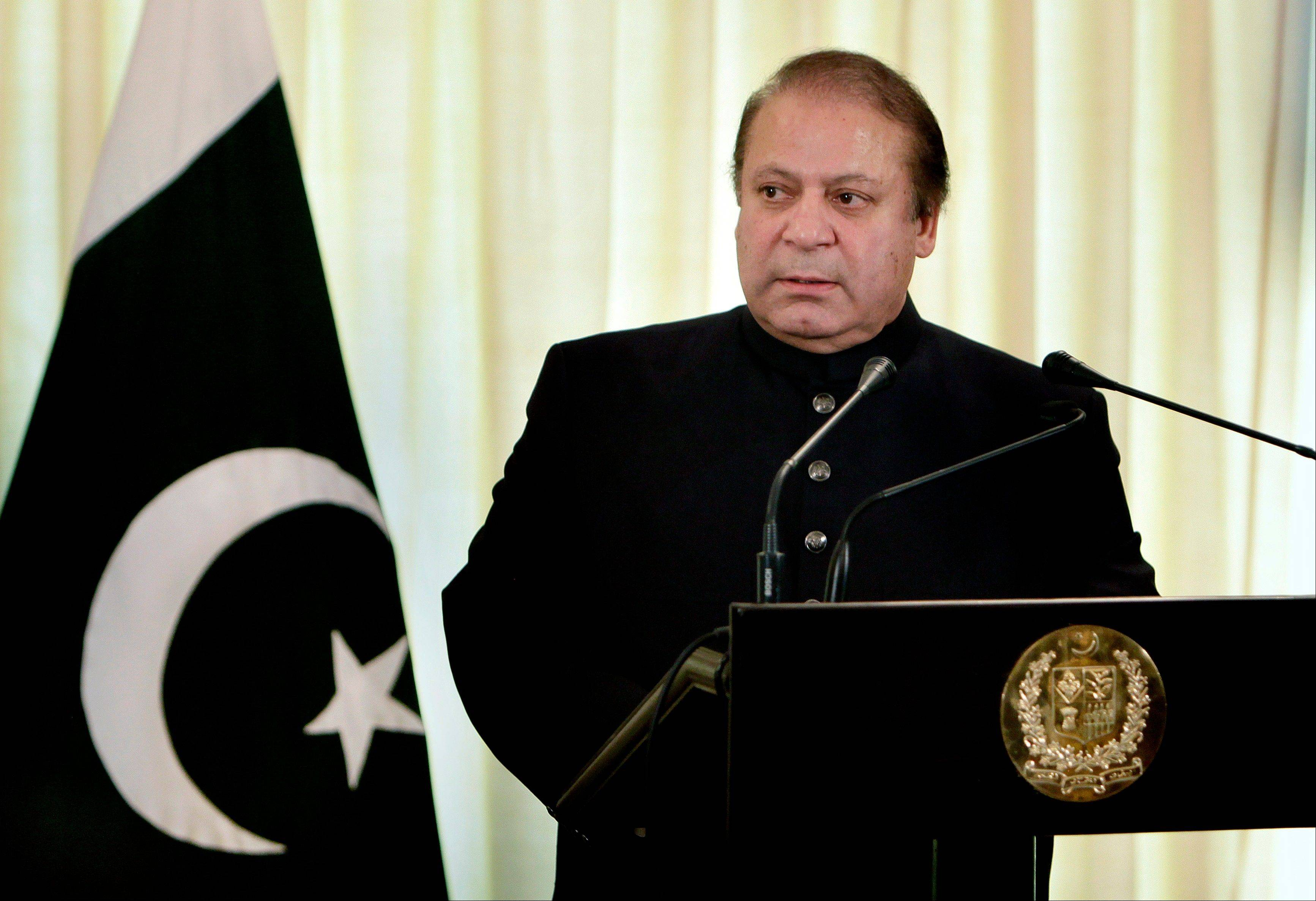 Associated Press/Aug. 26, 2013 Pakistani Prime Minister Nawaz Sharif pauses during a joint press conference in Islamabad, Pakistan, with Afghan President Hamid Karzai.