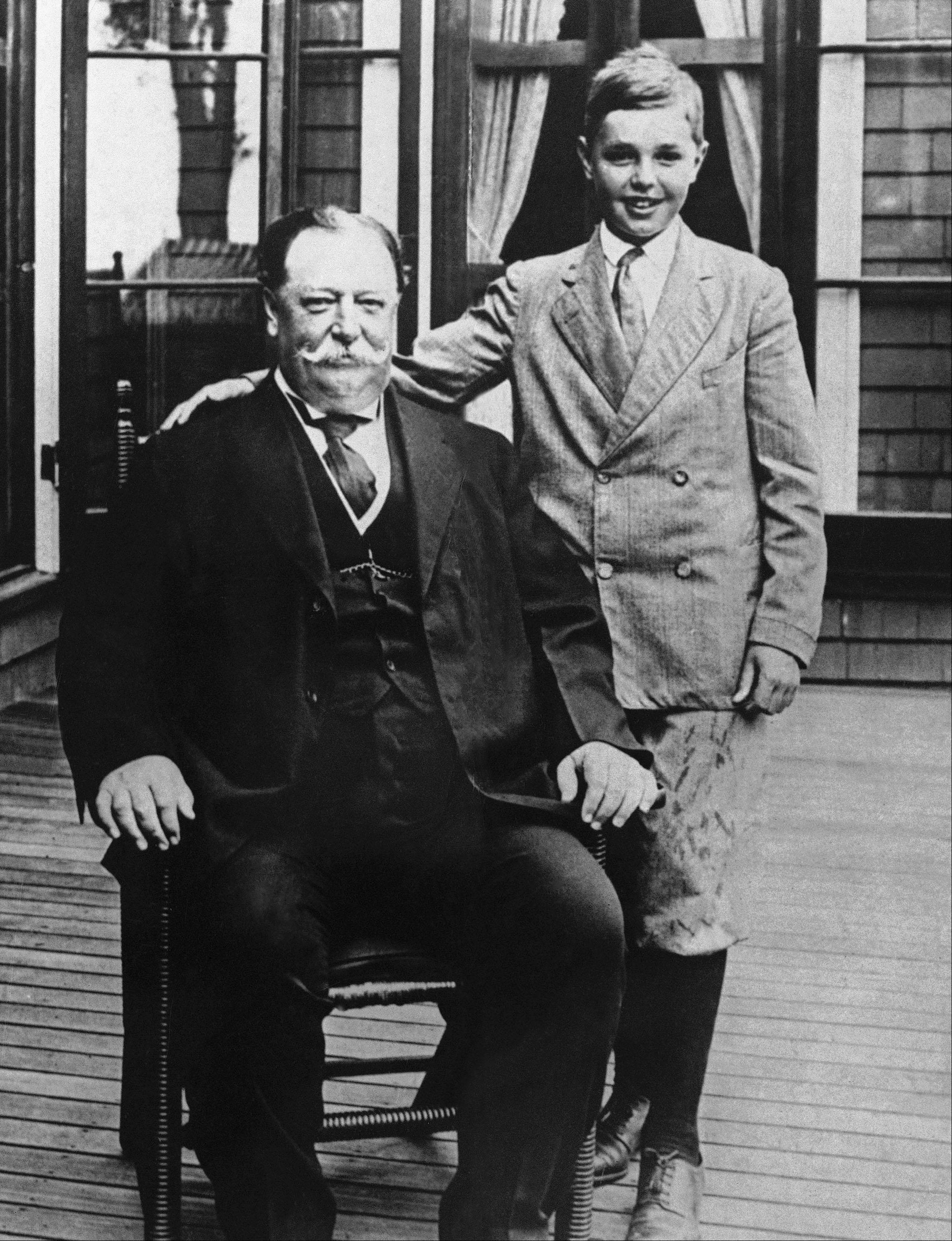 This photo shows President William Howard Taft with his son Charles while on vacation in Beverly, Mass. History buffs know Taft is the only president to later become Supreme Court chief justice, but he's also remembered as the president whose weight, at times well over 300 pounds, made headlines. Yet in the early 1900s, way before Weight Watchers, the nation's 27th president was helping to usher in a modern approach to treating obesity according to a report released Oct. 14 in the journal Annals of Internal Medicine.