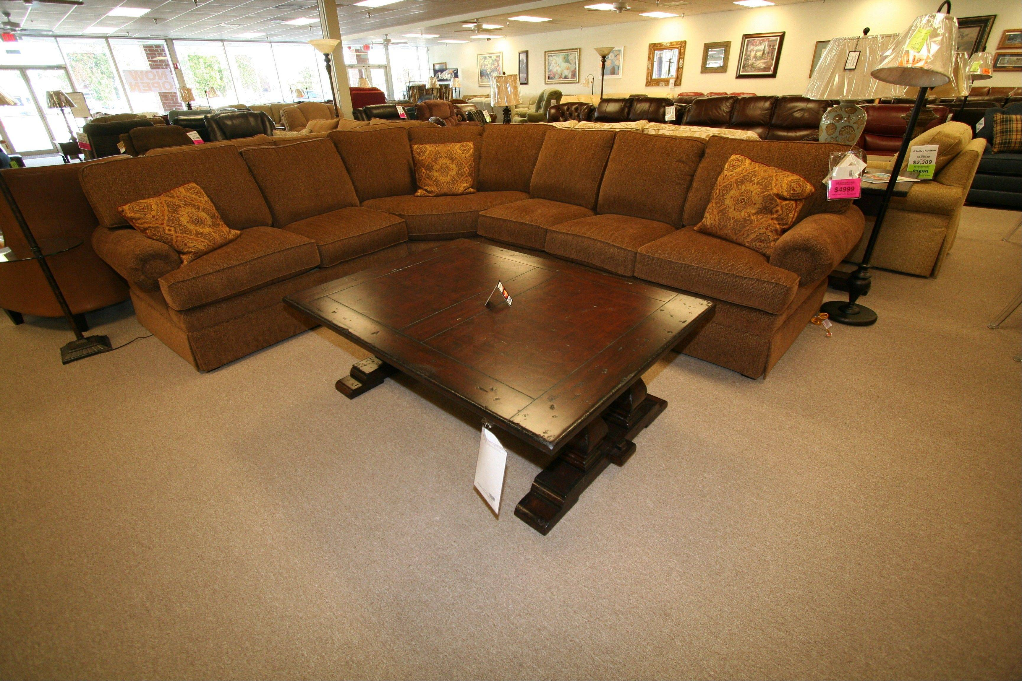 O'Reilly's Furniture sells a combination of leather and fabric sectionals, sofas and chairs.