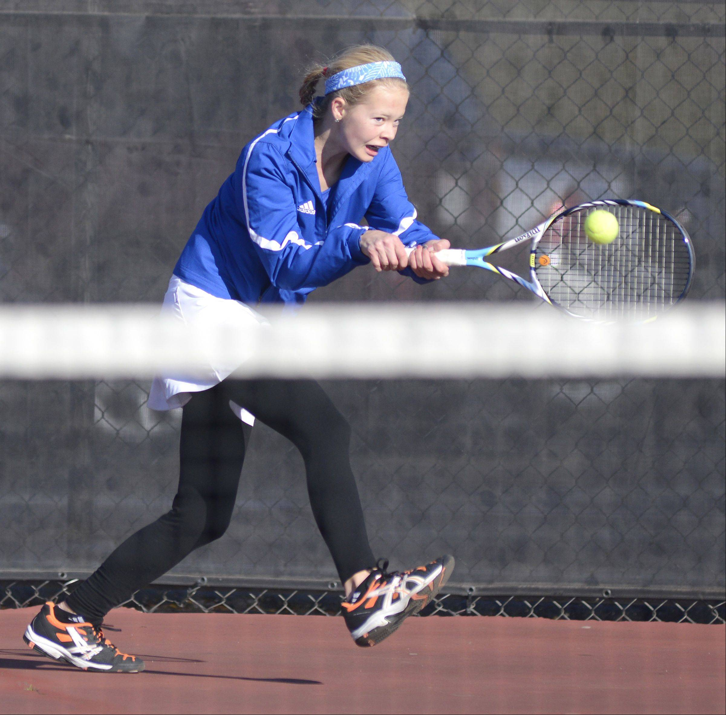 Geneva's Grace Krueger in singles match vs. Sycamore at the sectional on Saturday, October 19.