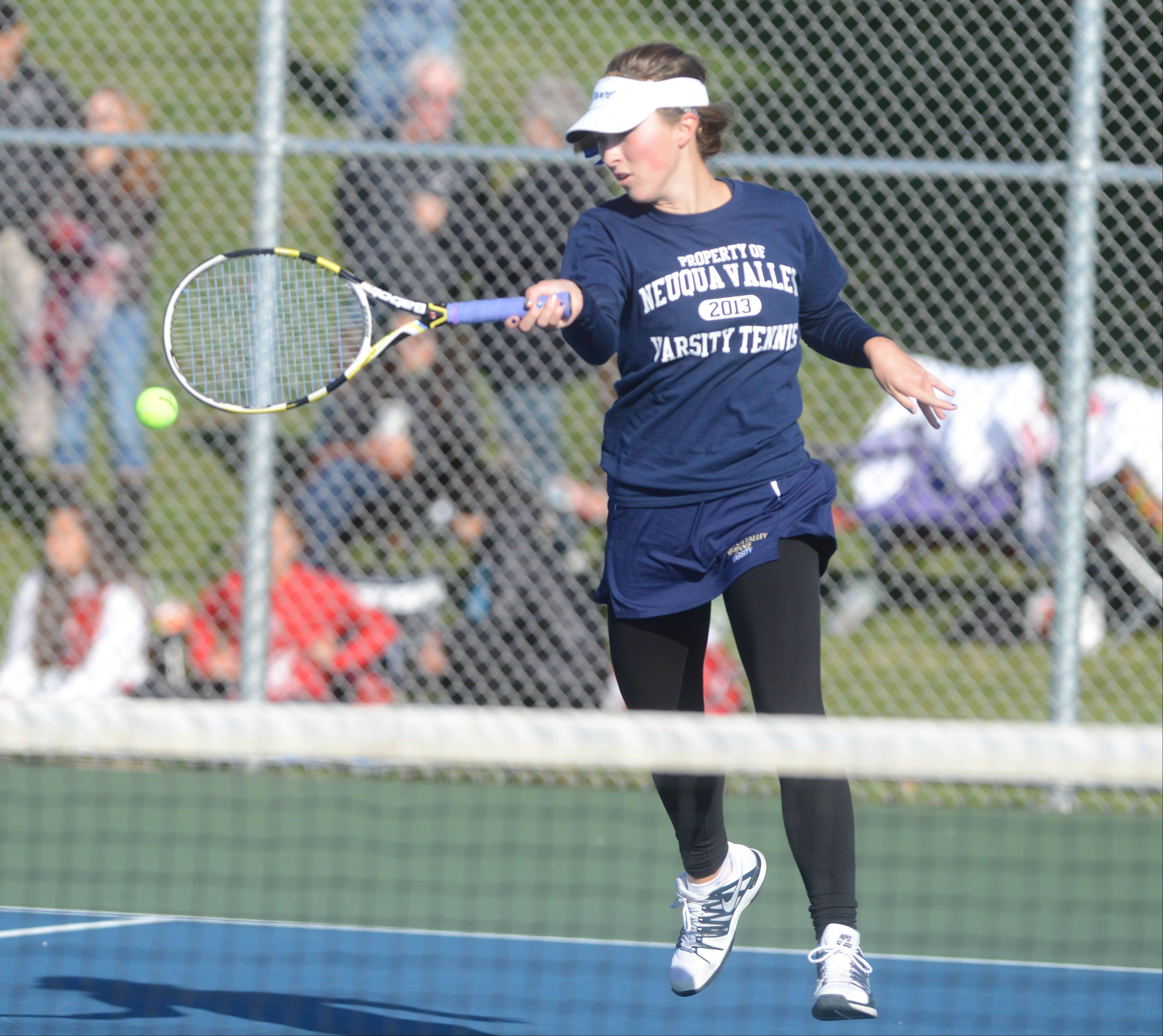 Taylor Hershey of Neuqua Valley took part in the Naperville North girls tennis sectional Saturday. She was playing with teammate Riti Vohra.