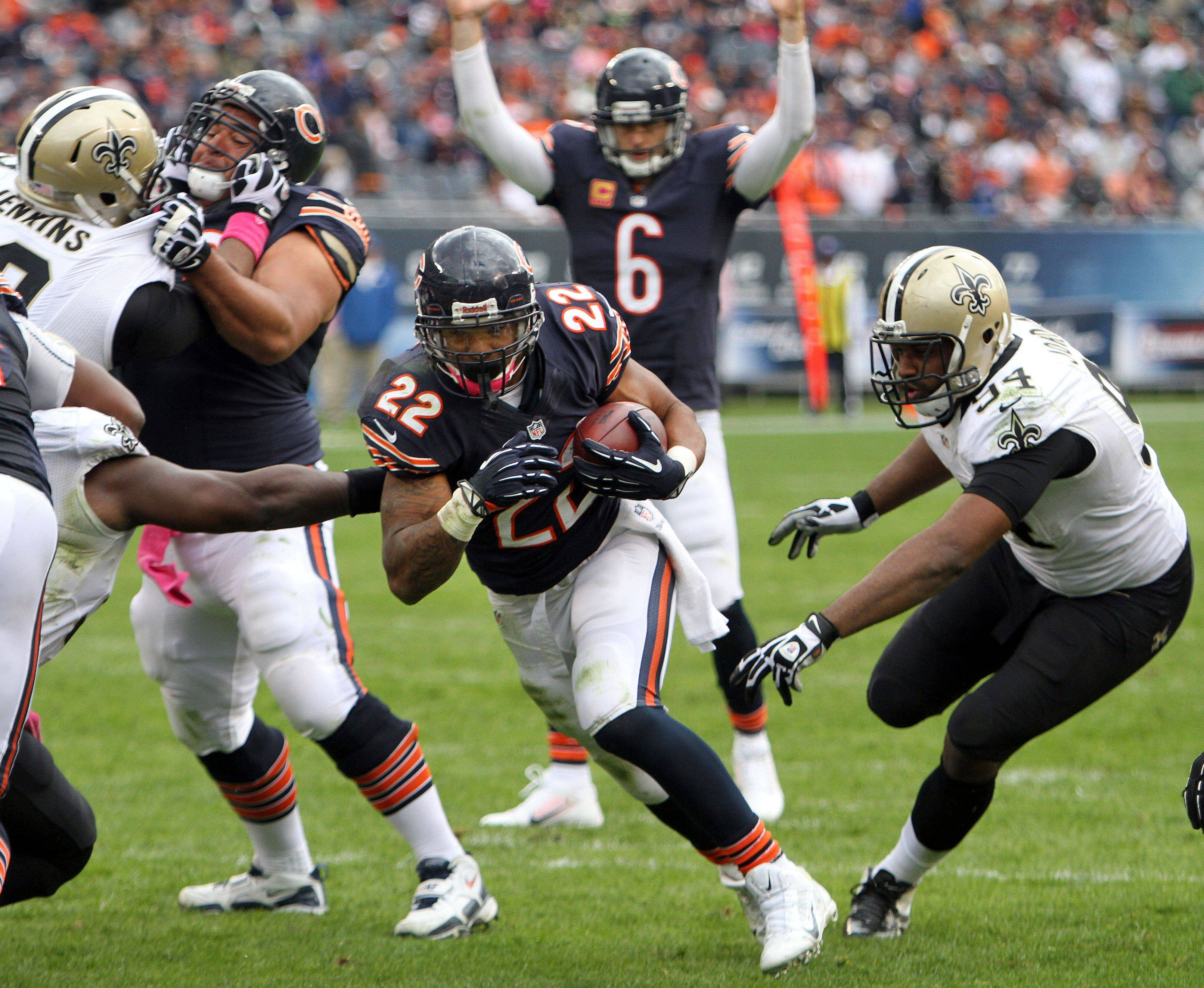 Matt Forte, here scoring a touchdown against the Saints, is on pace for 88 receptions this season. That's twice as many catches as he had in 2012.