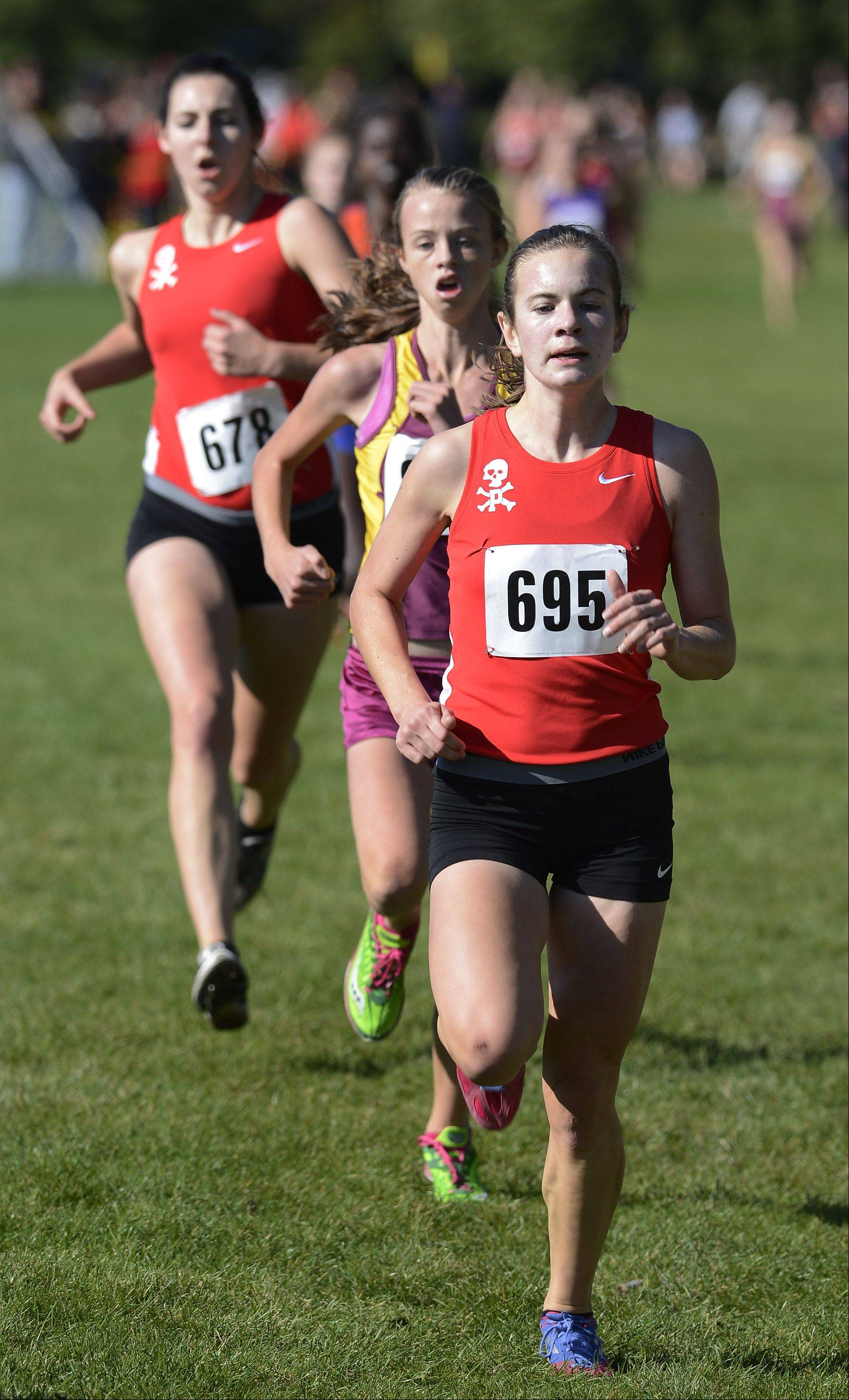 Kelly O'Brien of Palatine, Elie O'Connell of Schaumburg and Elizabeth Cox of Palatine finish third, fourth and fifth, respectively, during the Mid-Suburban League cross country meet at Willow Stream Park in Buffalo Grove Saturday.