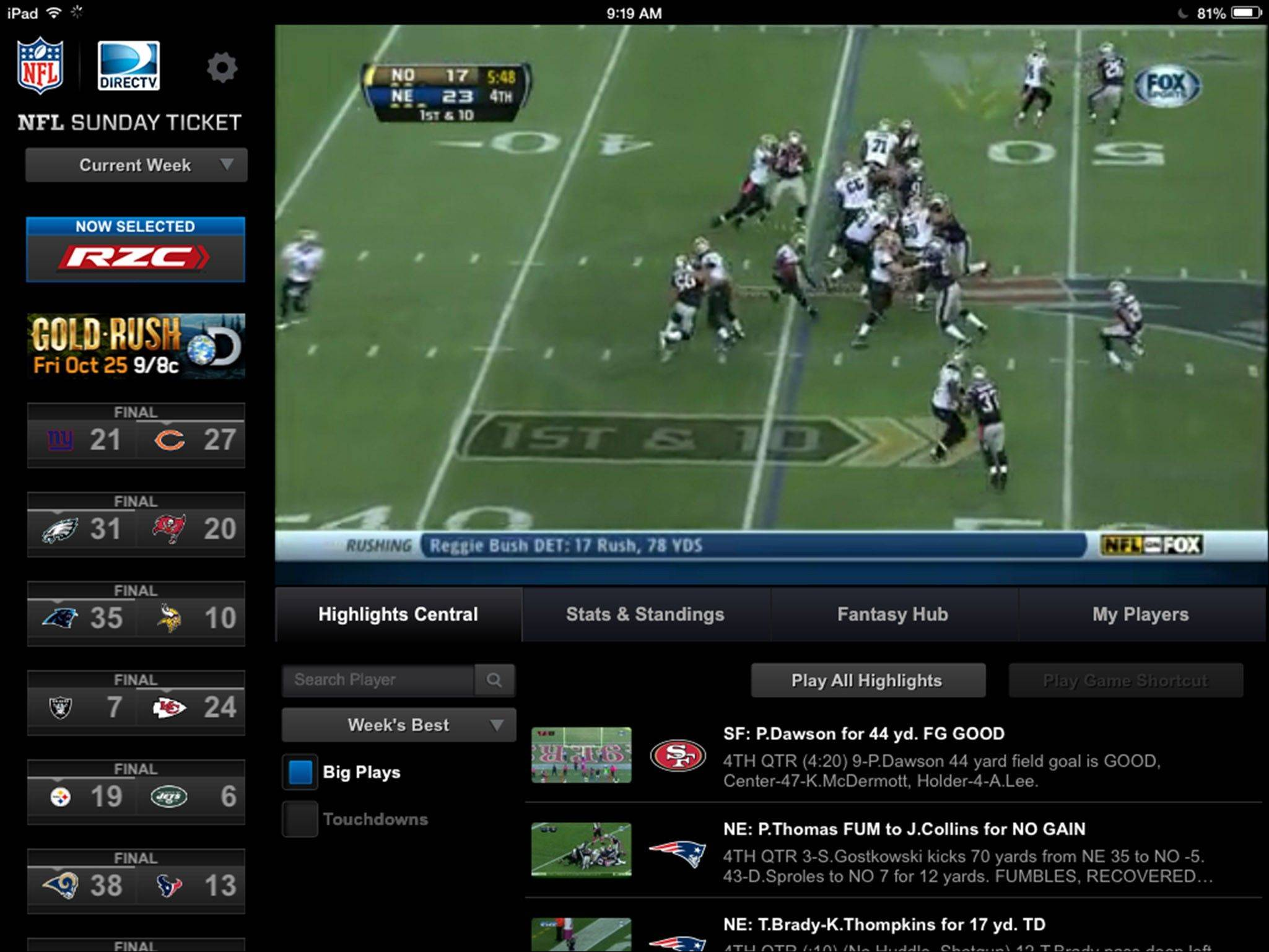 This image made from an NFL Sunday Ticket computer tablet app shows highlights from the game between the New Orleans Saints and the New England Patriots via DirecTV.
