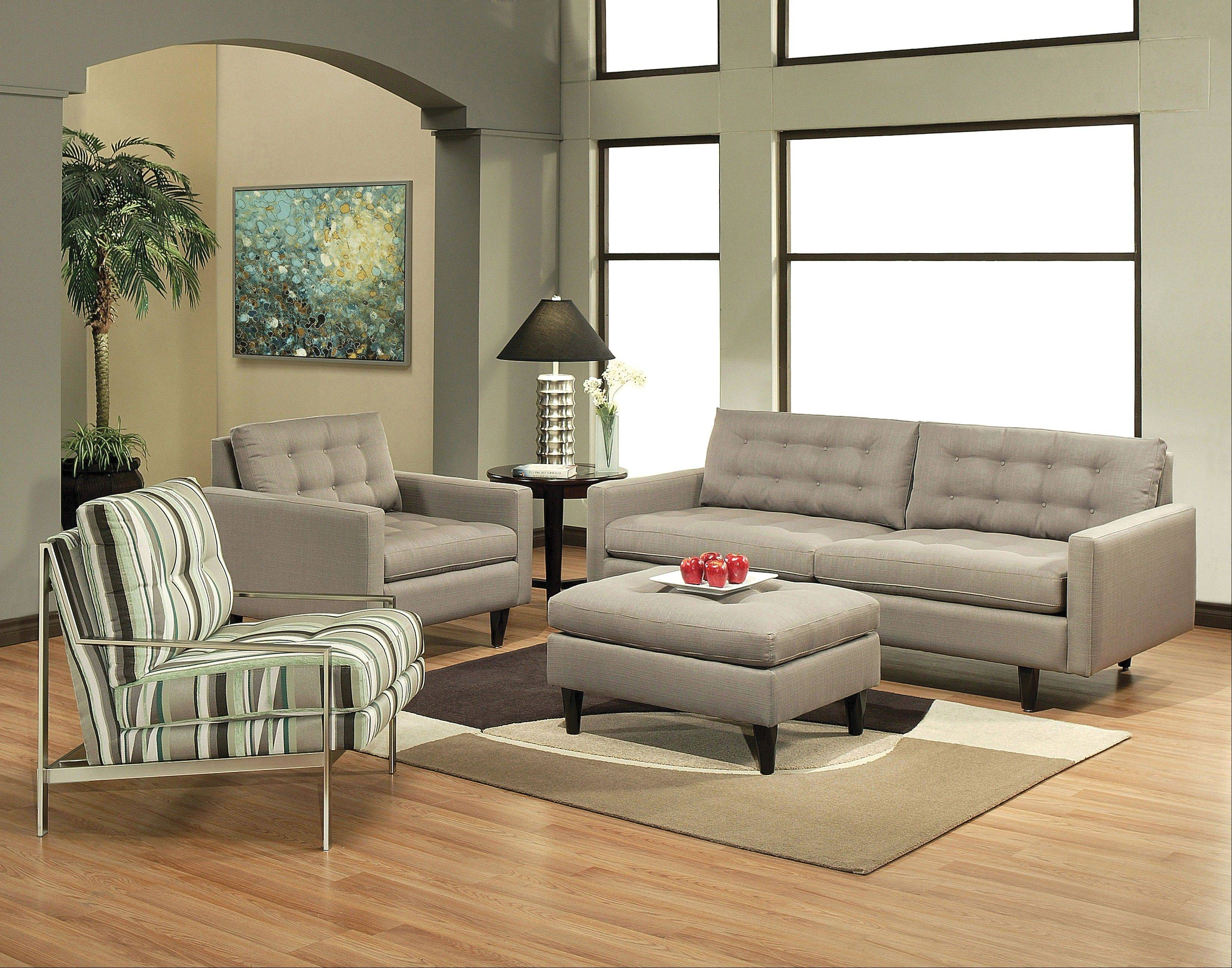 Consumers are choosing warm neutral colors — grays and taupes — for sectionals, couches and chairs.