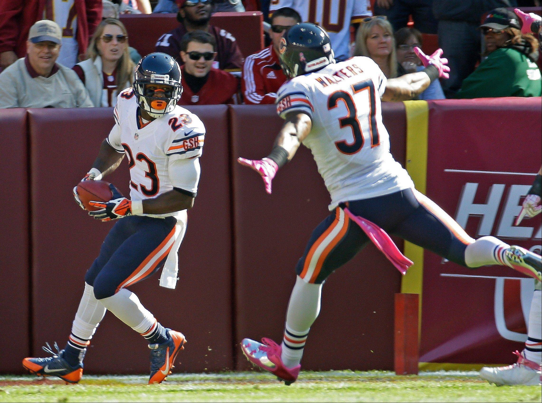 Devin Hester, getting congratulations from Anthony Walters, scored on an 81-yard punt return Sunday, breaking a 28-game drought in which he hadn�t scored on any kind of return.
