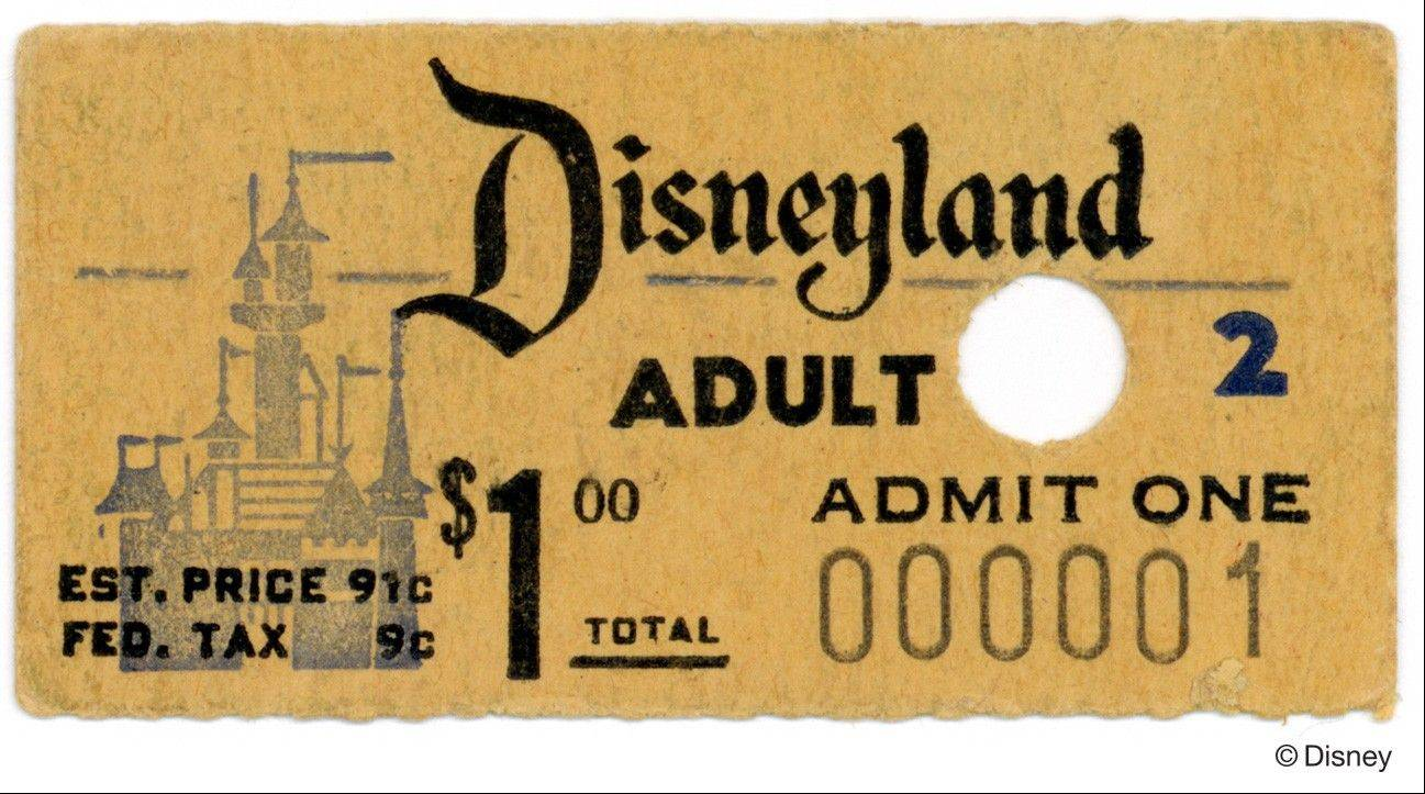 "The very first ticket for ""Disneyland"" is part of the exhibit ""Treasures of the Walt Disney Archives"" at the Museum of Science and Industry in Chicago."