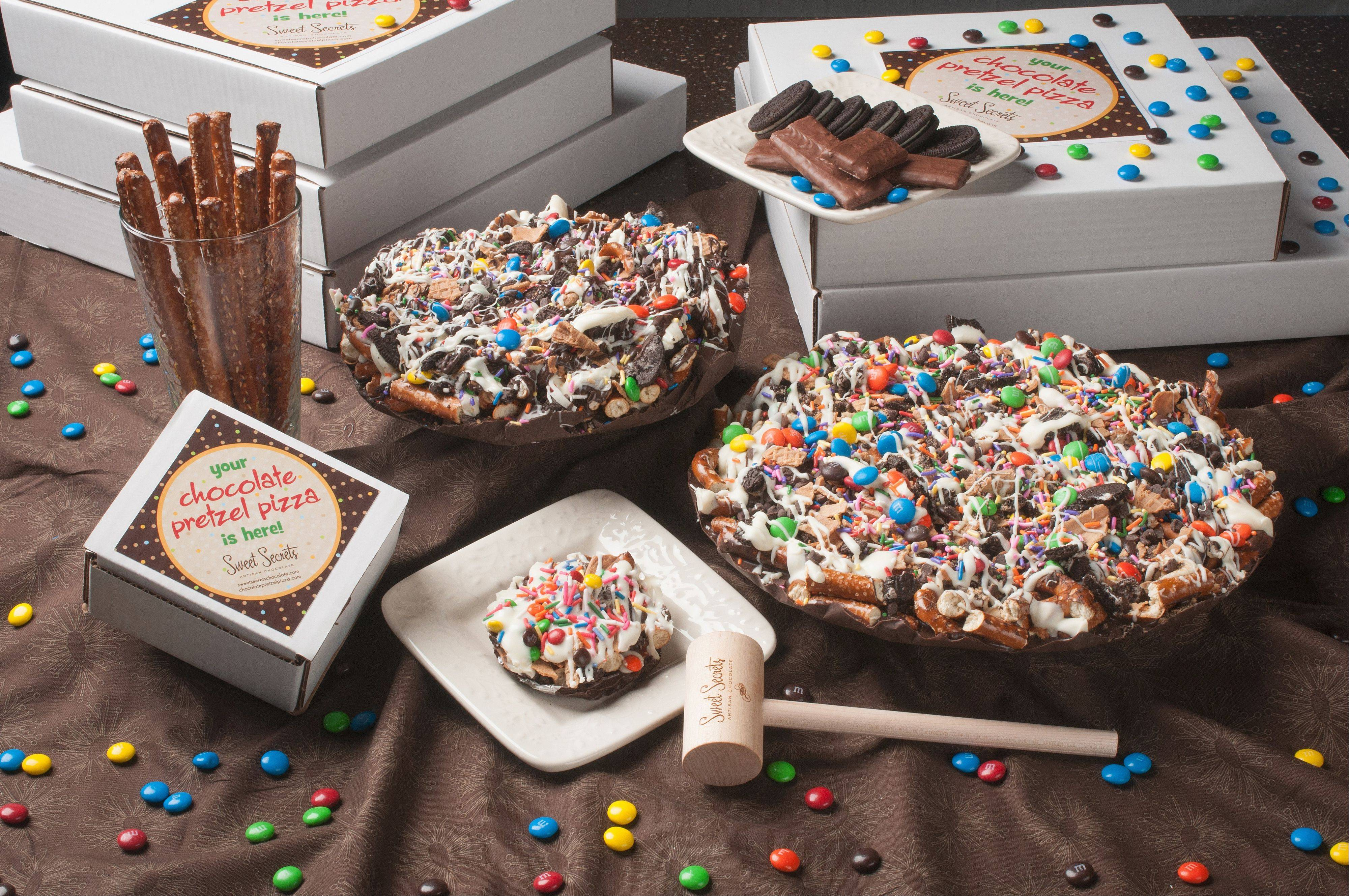 Chocolate Pretzel Pizzas from Wheaton's Sweet Secrets Chocolate are a finalist for Best New Product at the Chicago Fine Chocolate and Dessert Show at Navy Pier.