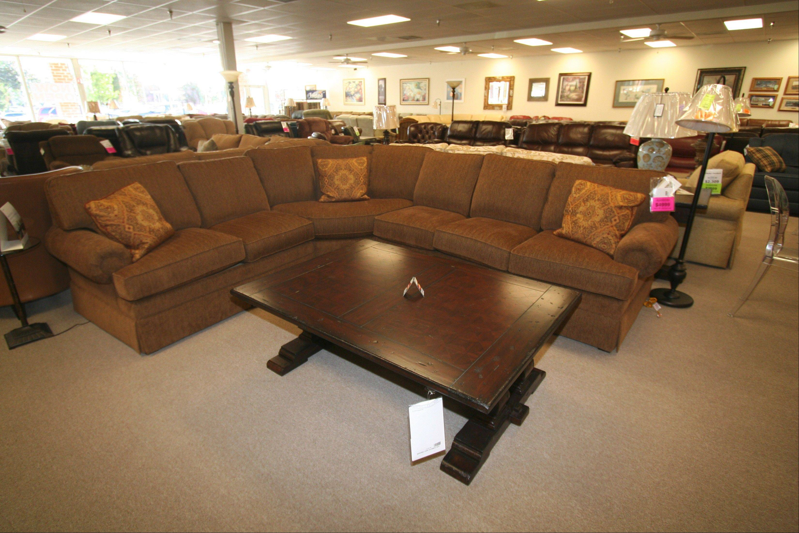 O'Reilly's Furniture recommends a nice, comfy sectional, such as this Taylor King three-piece sectional, along with a cocktail table to freshen up Kim King's family room.