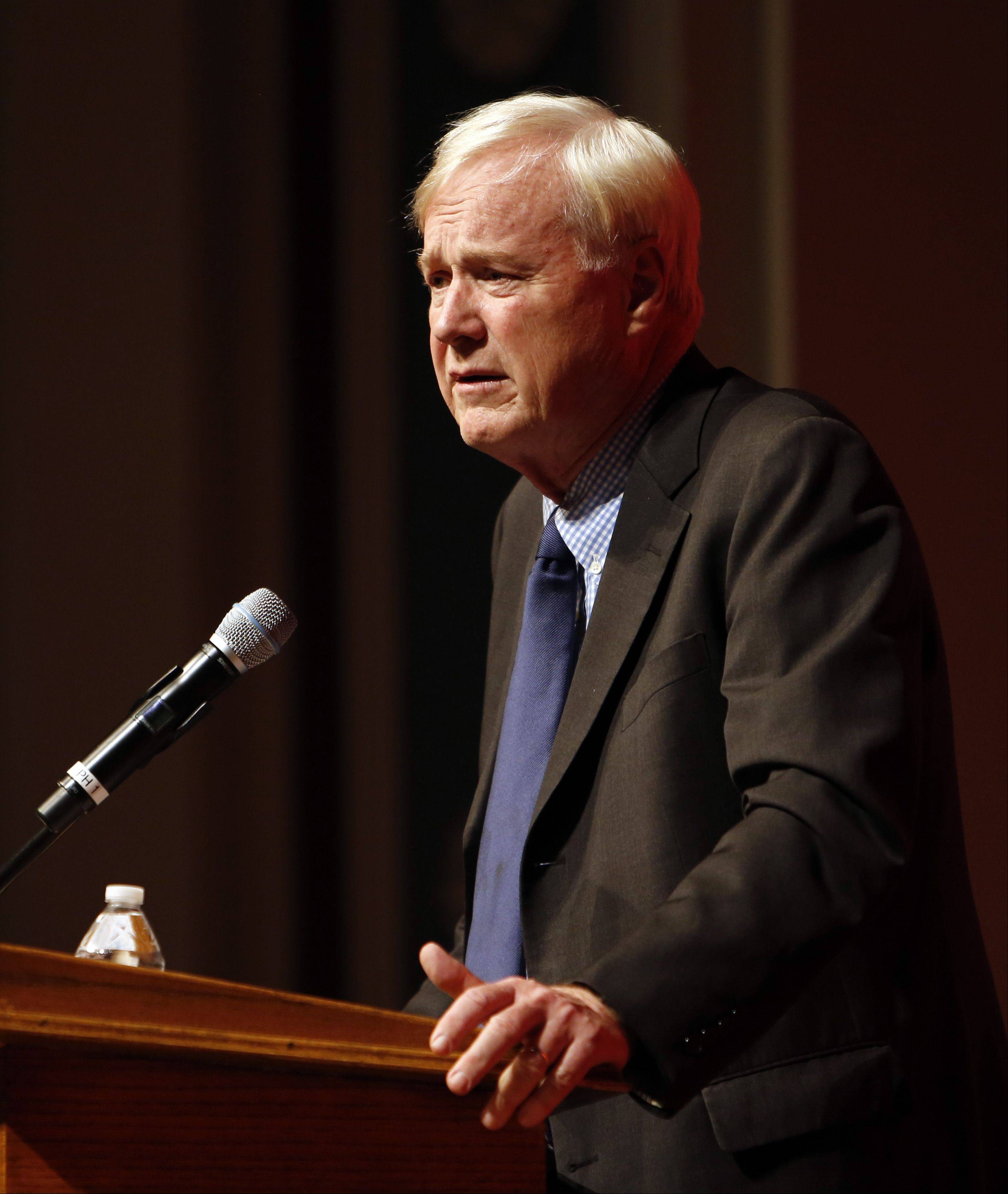 "MSNBC commentator Chris Matthews discusses his book ""Tip and the Gipper: When Politics Worked"" during an appearance Sunday at Naperville's North Central College. Matthews had a front-row seat to the dealings former President Ronald Reagan and Tip O'Neill as a top aide to former house speaker."