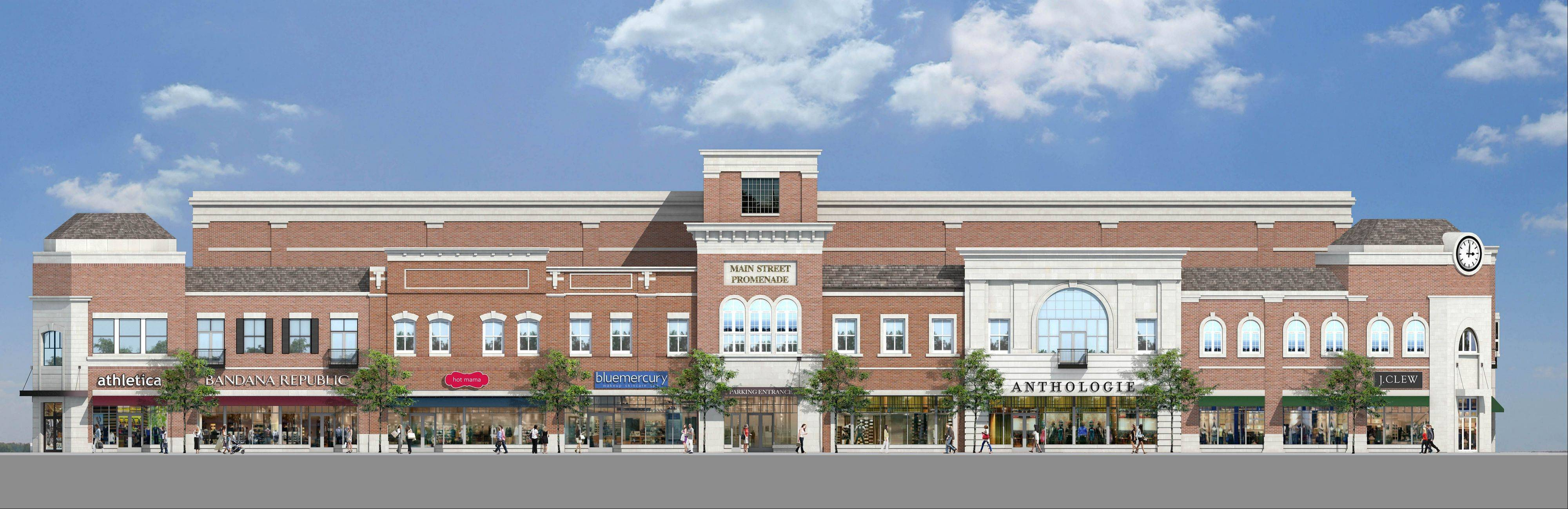 The two-story Main Street Promenade East development will line the east side of Main Street from Benton to Van Buren Avenues, featuring some of the stores shown, including Hot Mama, Bluemercury and Anthropologie, and some others, including Michael Graham Salon and Spa, Frost Gelato and DavidsTea.