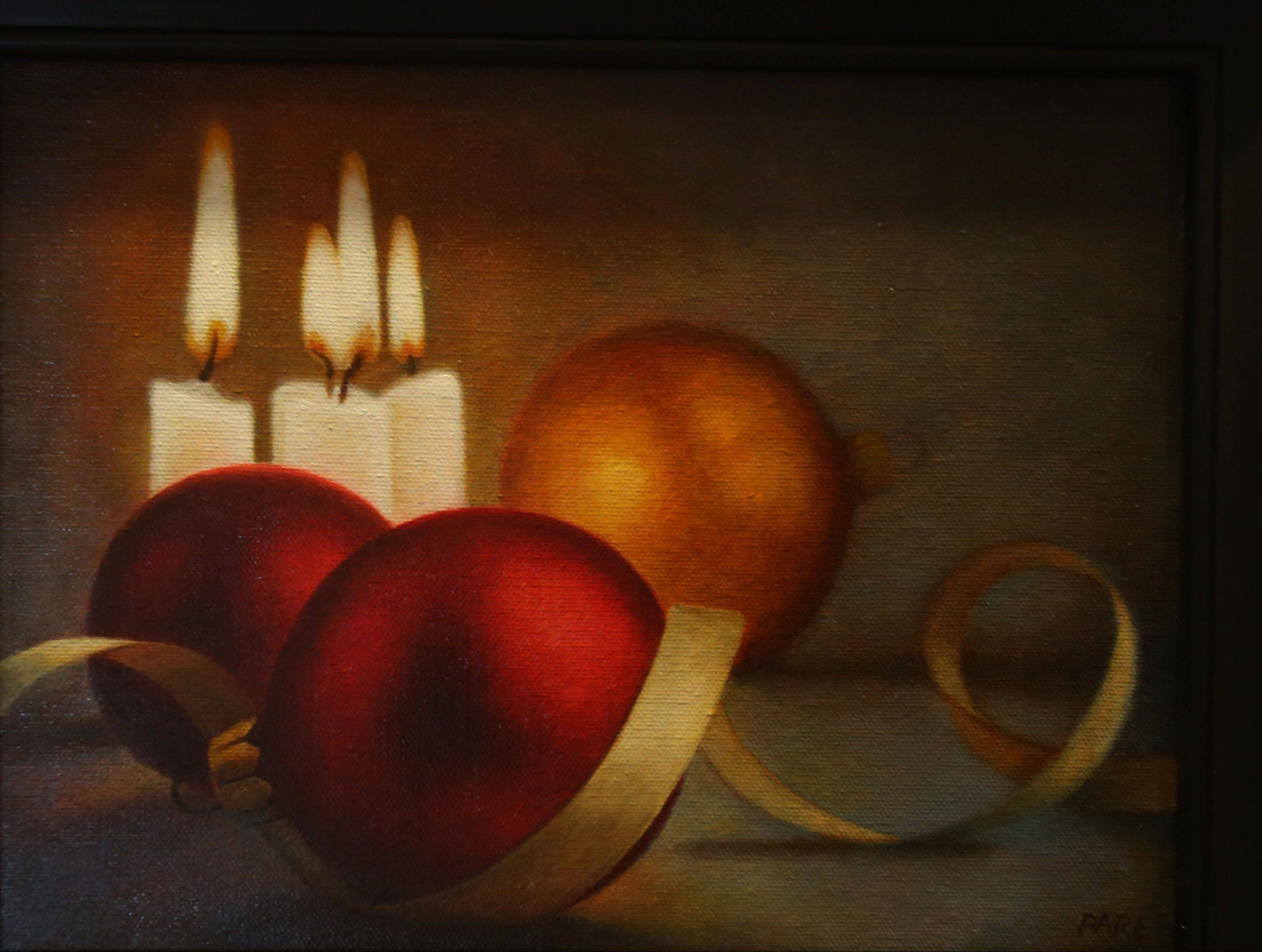 "This painting, titled ""Christmas Baubles,"" by Mariam Par� of Naperville has been made into greeting cards being sold by the Mouth and Foot Painting Artists, a for-profit business operated by artists with disabilities."