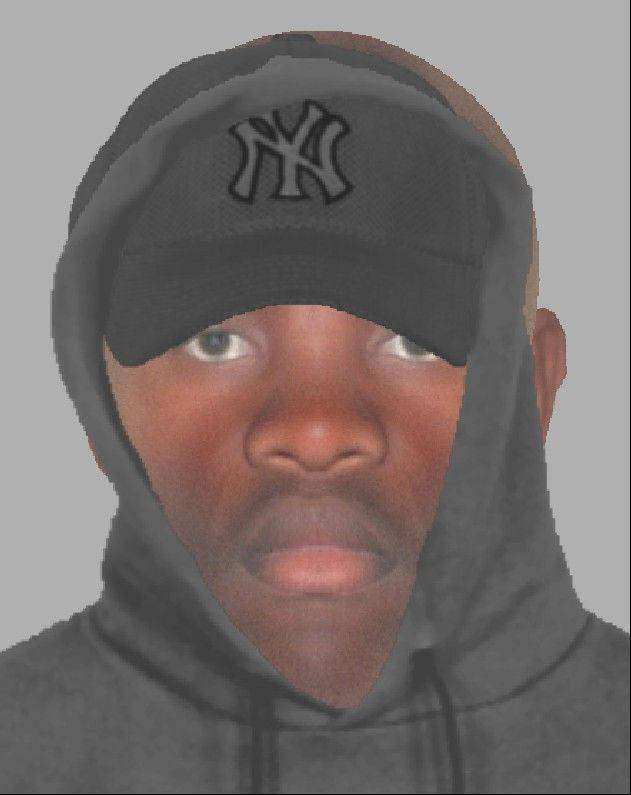This computer-generated likeness shows a man suspected in an armed robbery on the 600 block of North Knollwood Drive in Schaumburg on Saturday night.