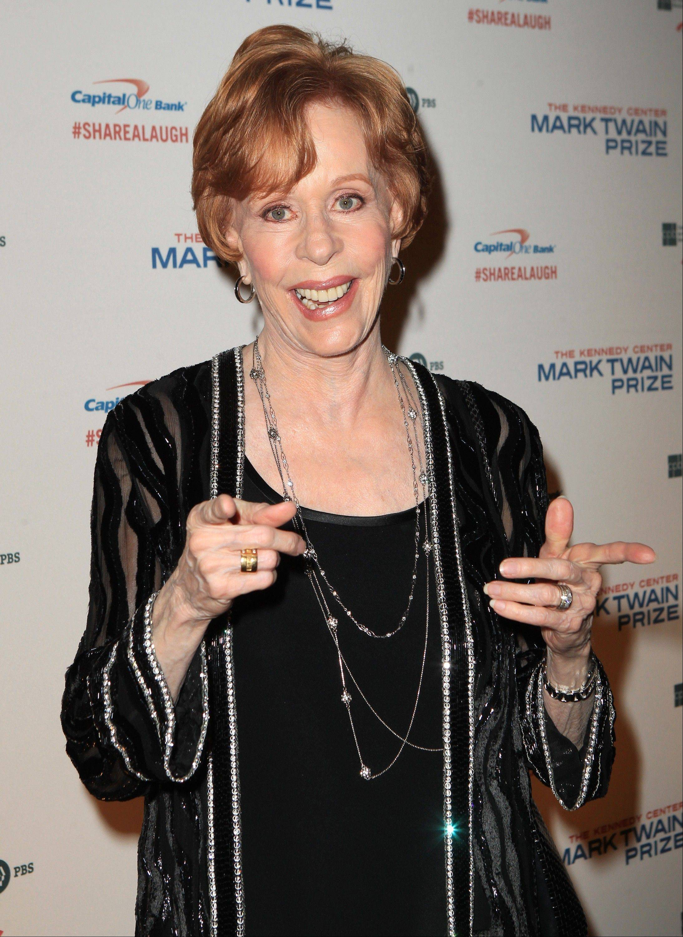 Carol Burnett received the Mark Twain Prize for American Humor Sunday at the Kennedy Center in Washington, D.C.