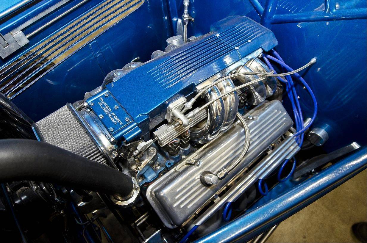 A new 350-cubic-inch V-8 is found under the hood of the roadster.