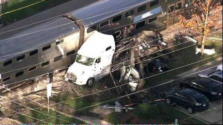 An aerial view of a collision between a Metra train and a semitrailer truck in Bartlett on Monday afternoon.