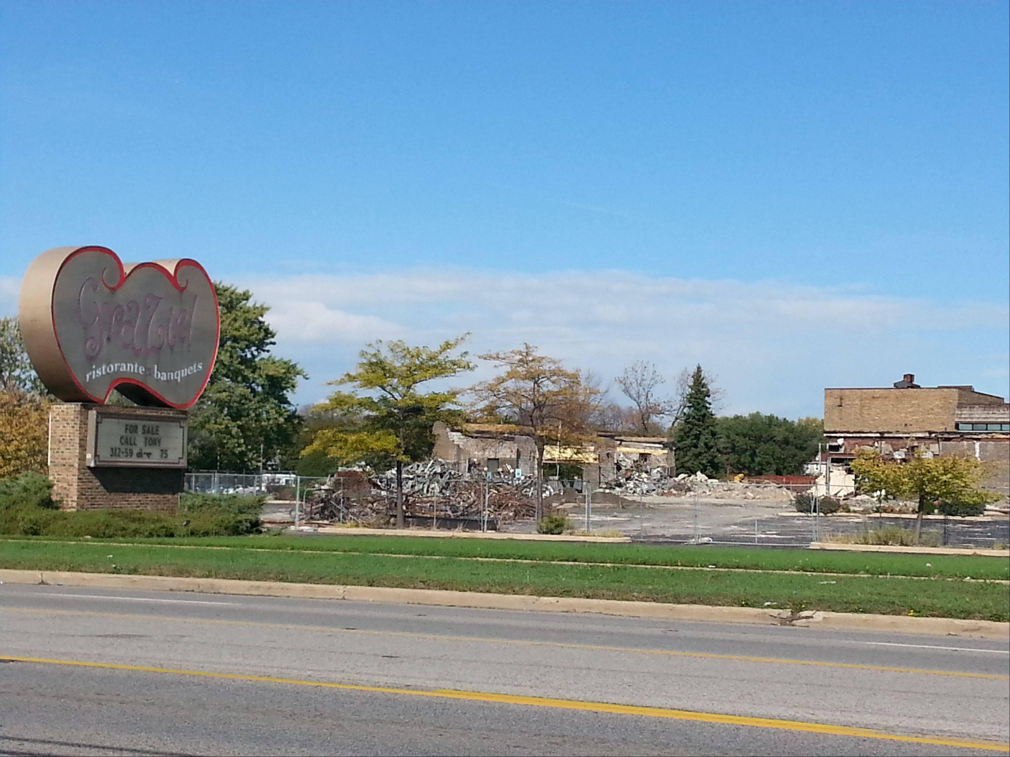 The former Grazie Ristorante in Des Plaines is being demolished to make way for a new fitness club, the site's new owner said Monday. The restaurant closed about two years ago after the property was foreclosed upon.