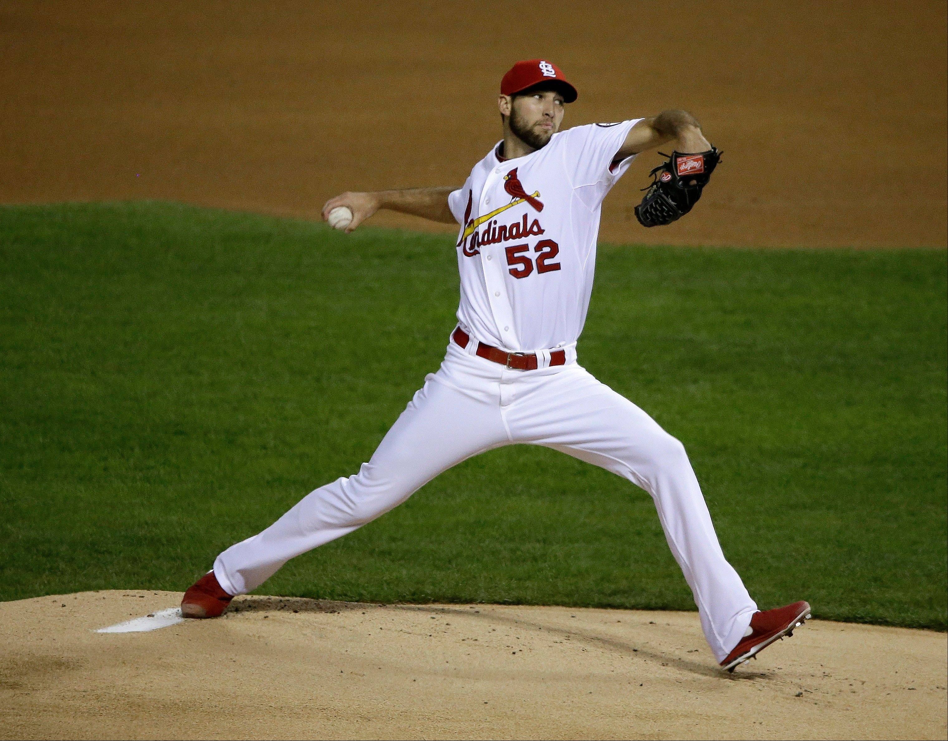 Cardinals rookie Michael Wacha throws during the first inning of Game 6 of the National League Championship Series against the Dodgers last Friday.
