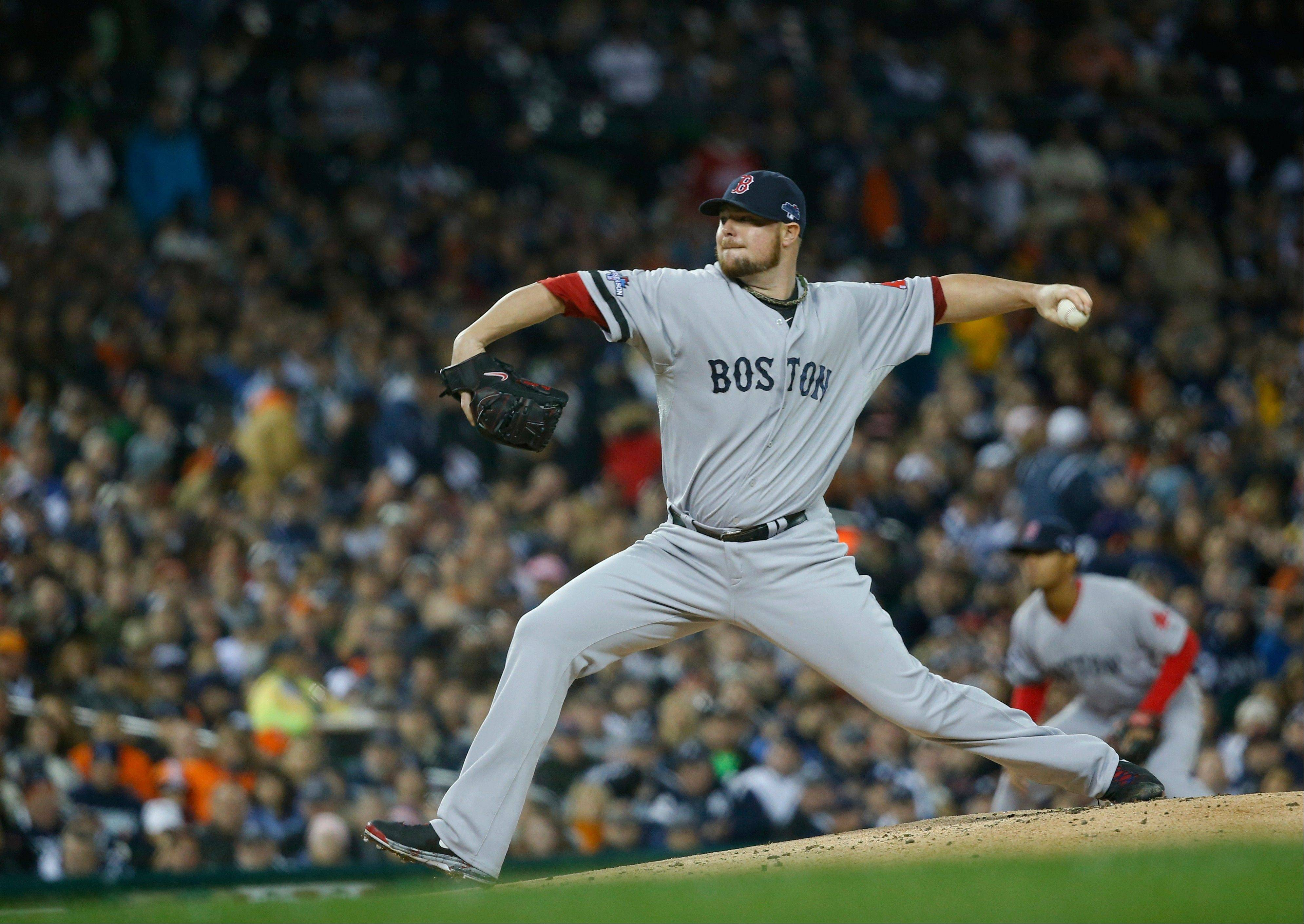 Boston Red Sox starting pitcher Jon Lester throws during Game 5 of the American League Championship Series in Detroit last Thursday.