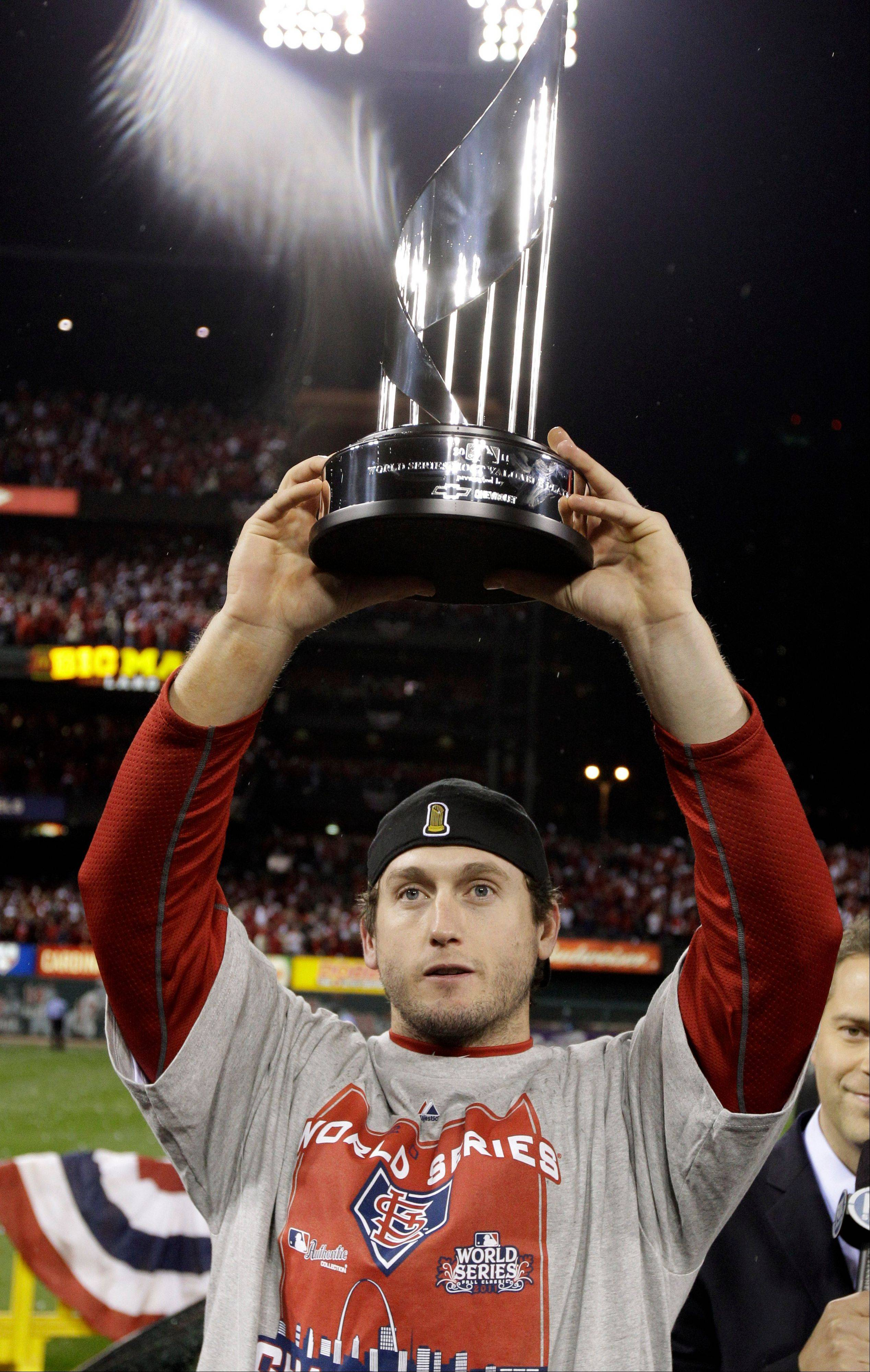 Cardinals third baseman David Freese won the MVP trophy in the 2011 World Series.