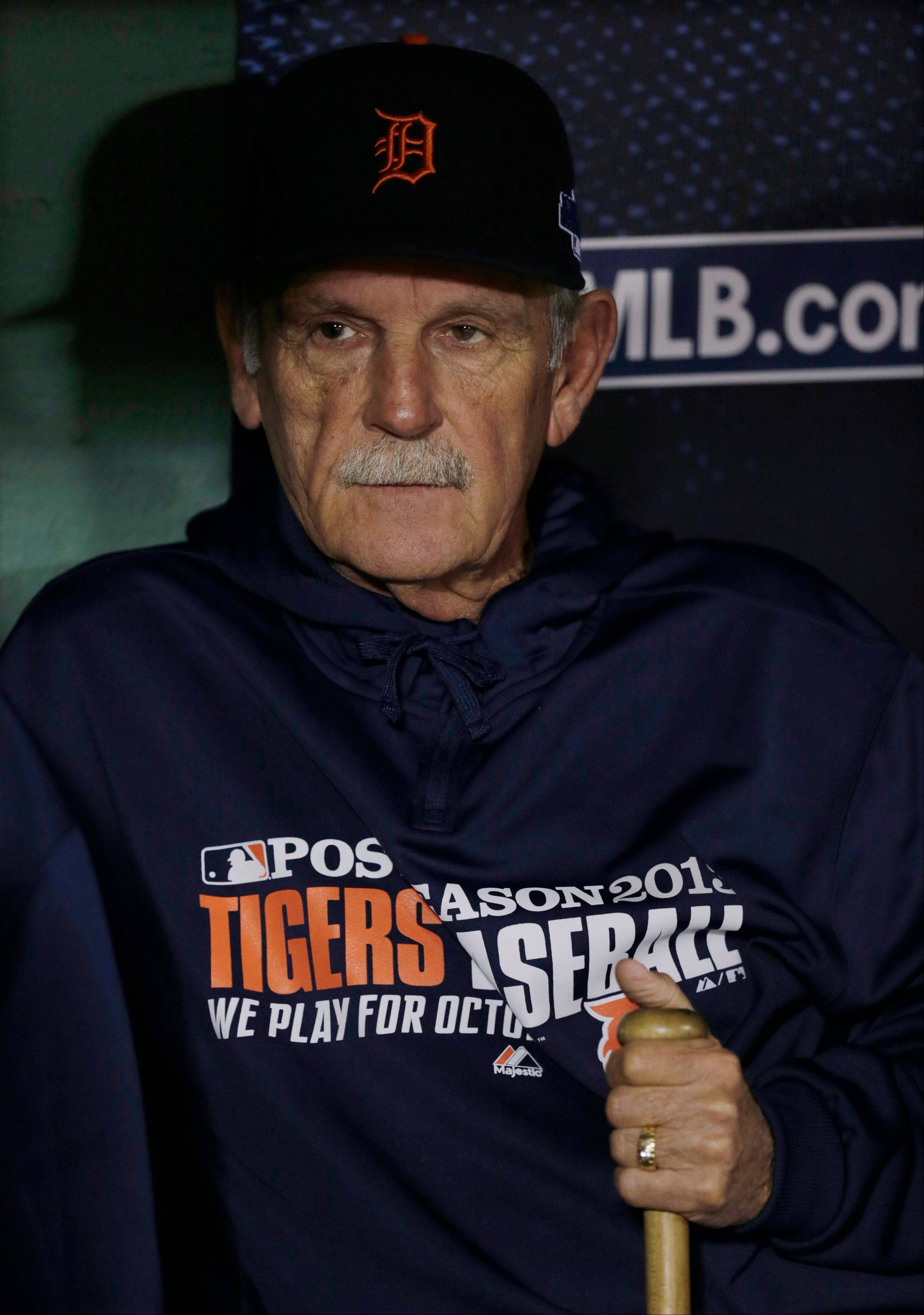 Detroit Tigers manager Jim Leyland watches batting practice from the dugout Saturday before Game 6 of the American League championship series. The 69-year-old manager announced his retirement Monday.